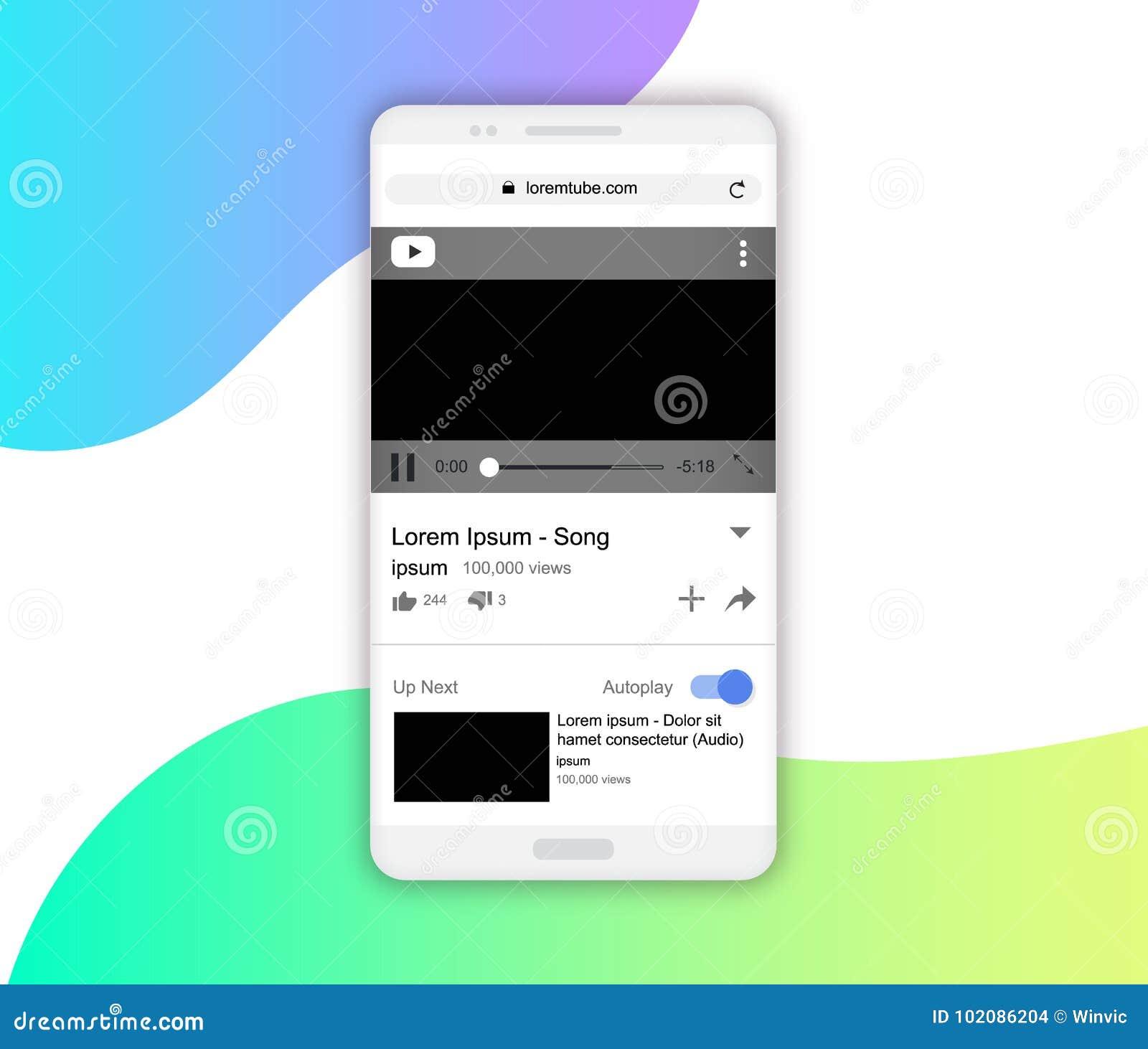 Smartphone Video Player, Ui, App Ux Concept, Vector
