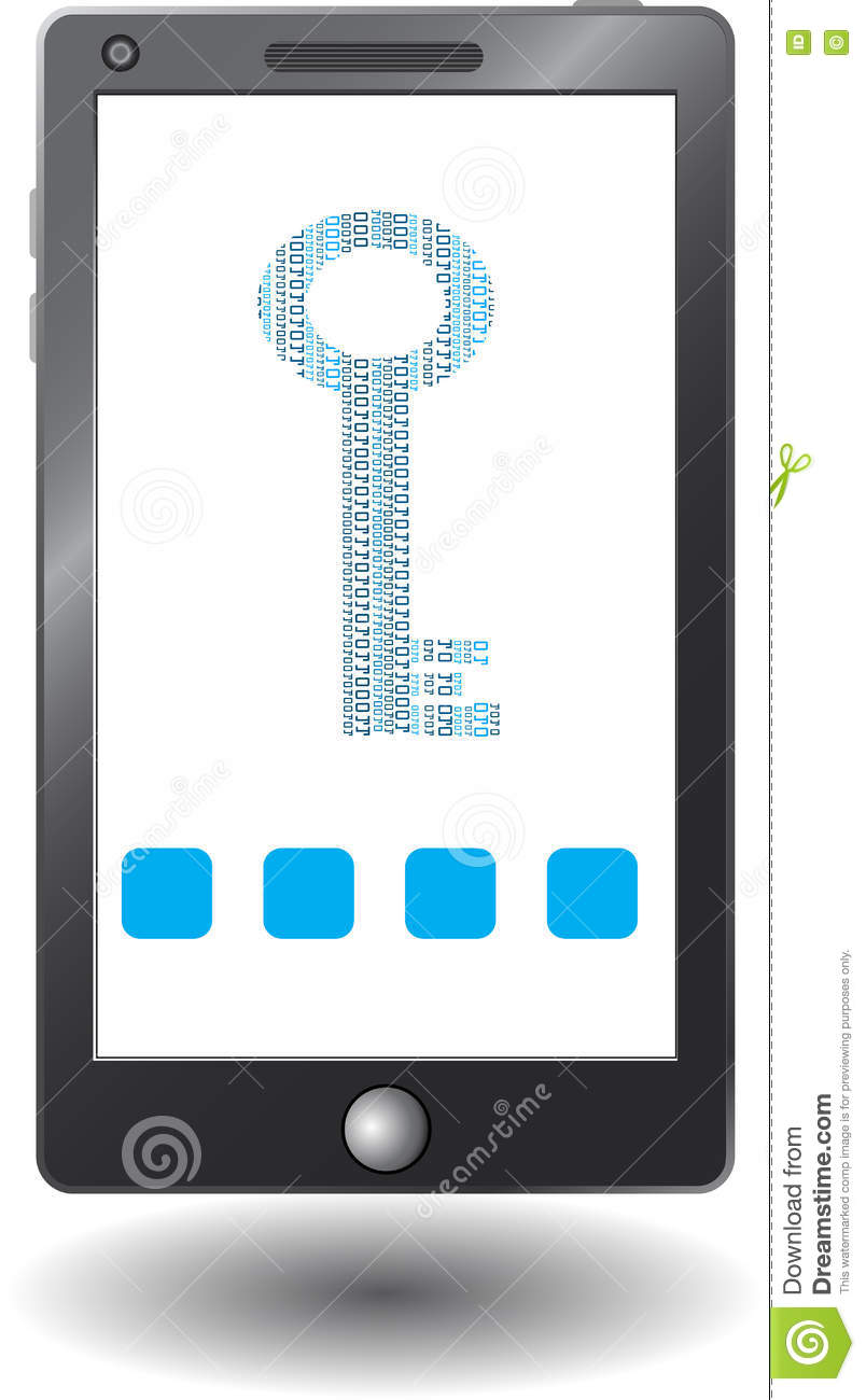 Smartphone With Virtual Security Key, Icon Stock Illustration