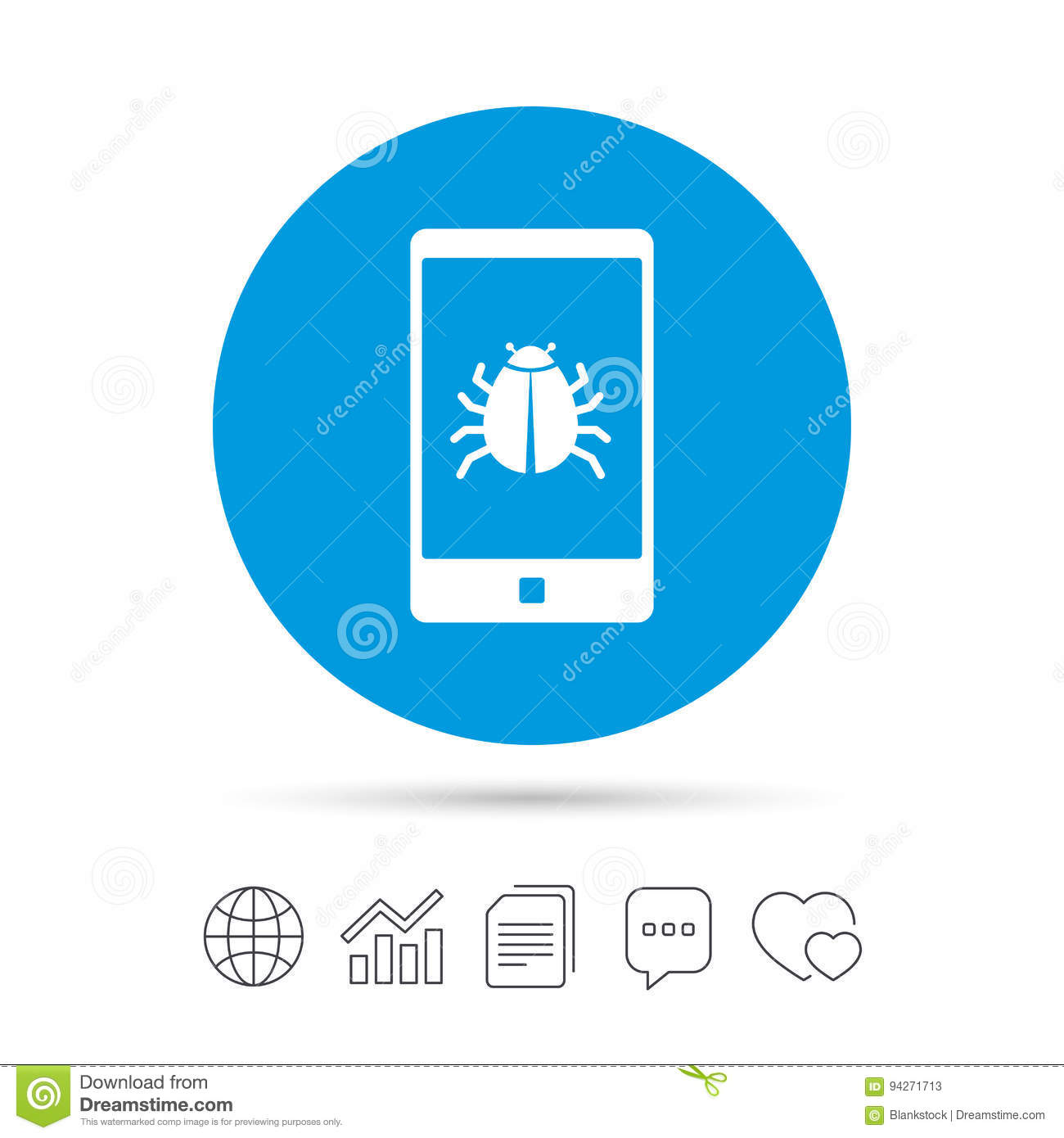 Smartphone Virus Sign Icon Software Bug Symbol Stock Vector