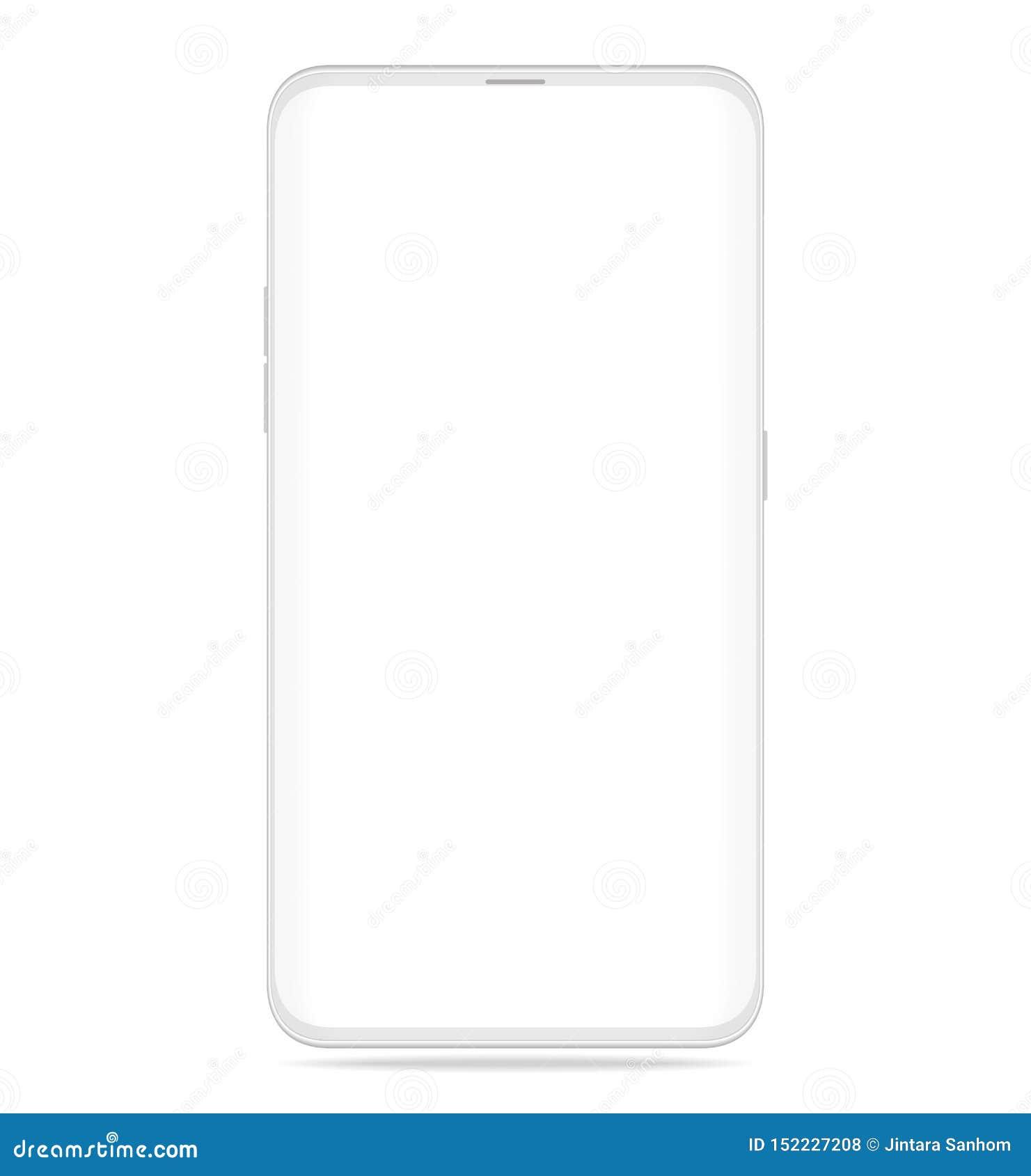 Smartphone vitt realistiskt med isolerat på vit bakgrund