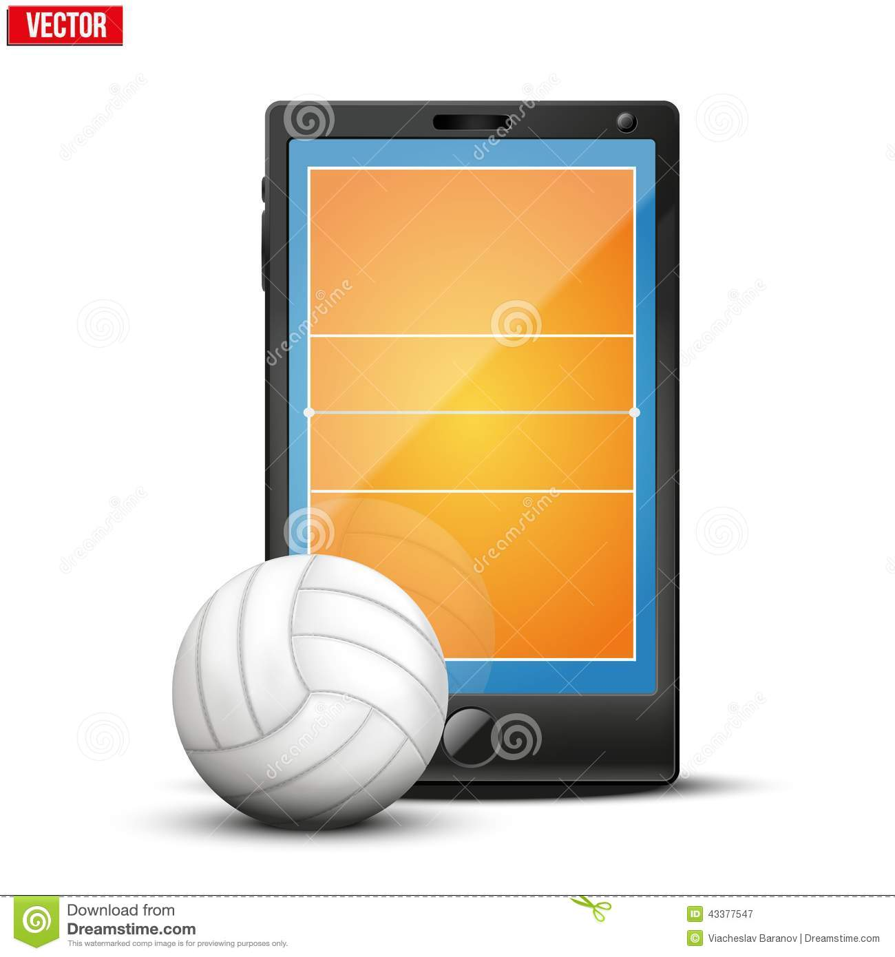 Smartphone with volleyball ball and field on the