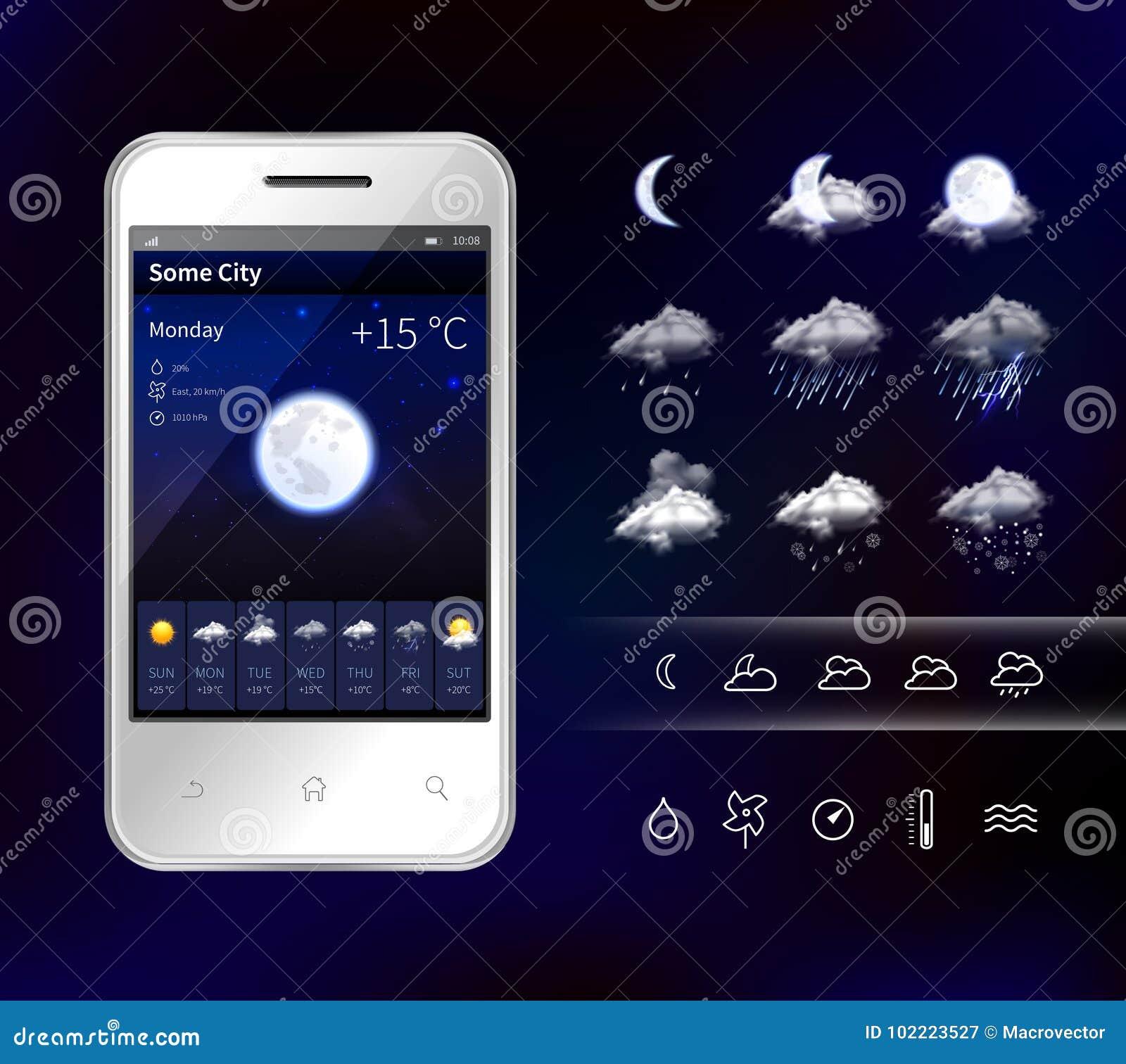 Smartphone Mobile Weather Realistic Image