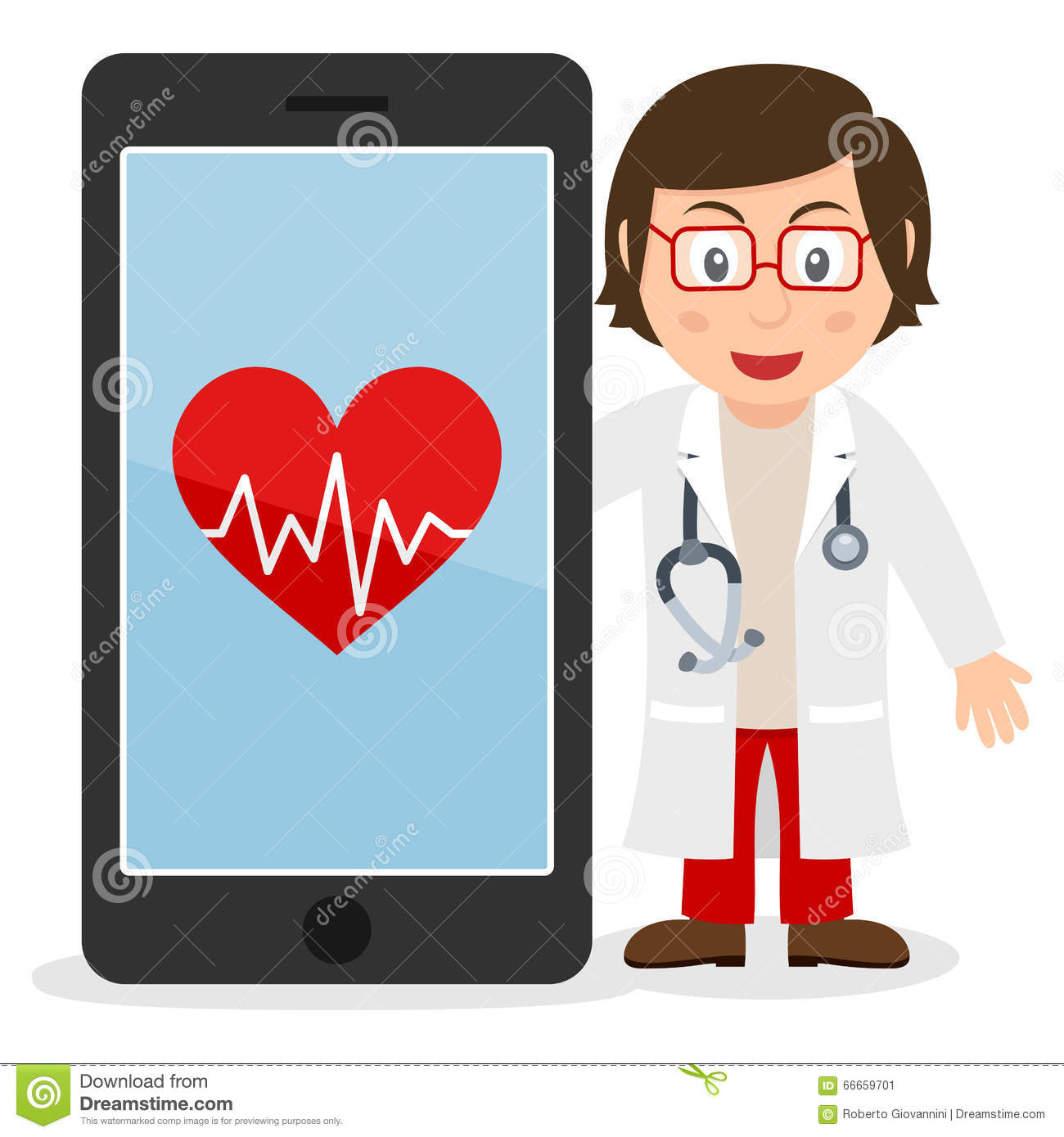 smartphone and white female doctor stock vector   image