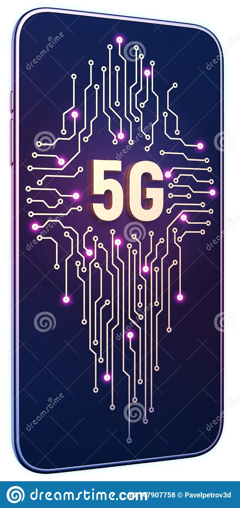 Smartphone white isolated background neon glow. Golden 5g symbol and circuit board on screen. 5g internet concept in technology 3d