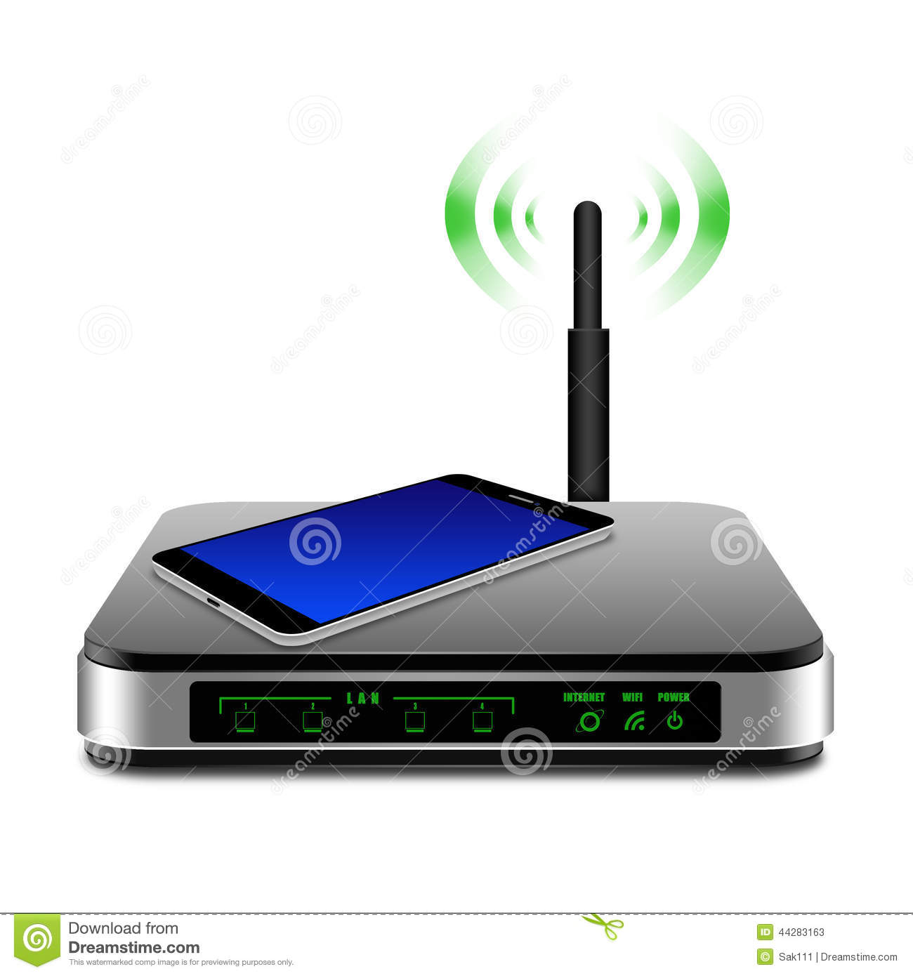 Smartphone On Wireless Router With The Antenna Illustration Stock