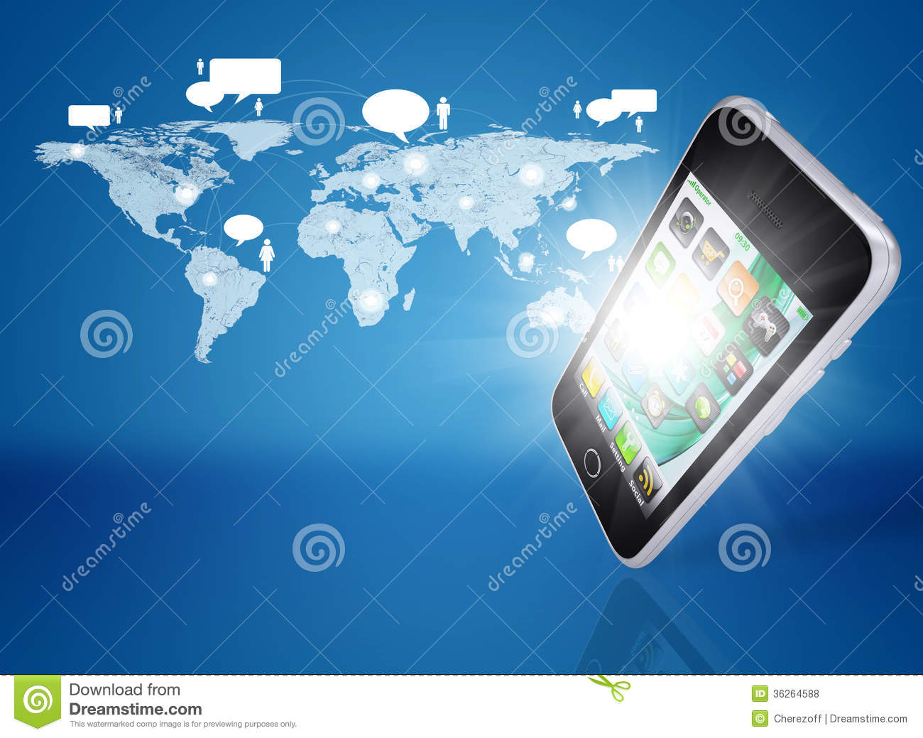 Smartphone and world map with contacts stock illustration smartphone and world map with contacts modern communicator publicscrutiny Choice Image