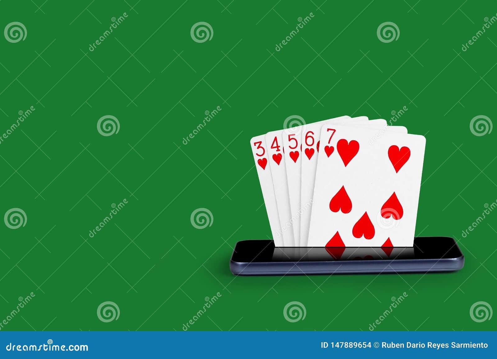 Smartphone z grzebak kartami, karcianej gry Prostego sekwensu sztandaru online kasynowa królewska ilustracja