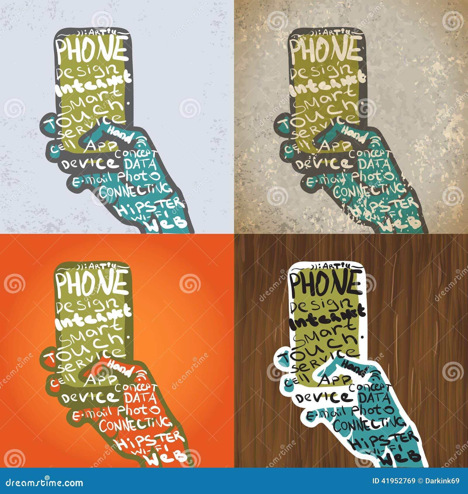 Smartphone z ręka Graficznym projektem Typograficzni elementy