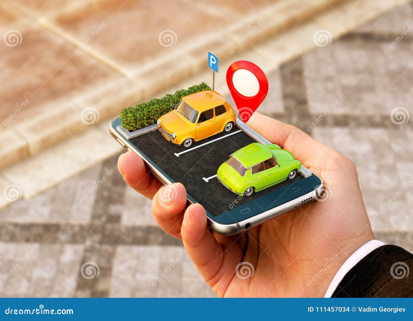 Smartphone zastosowanie dla onlinego gmerania parking bezpłatnego miejsca na mapie GPS nawigacja Parking pojęcie
