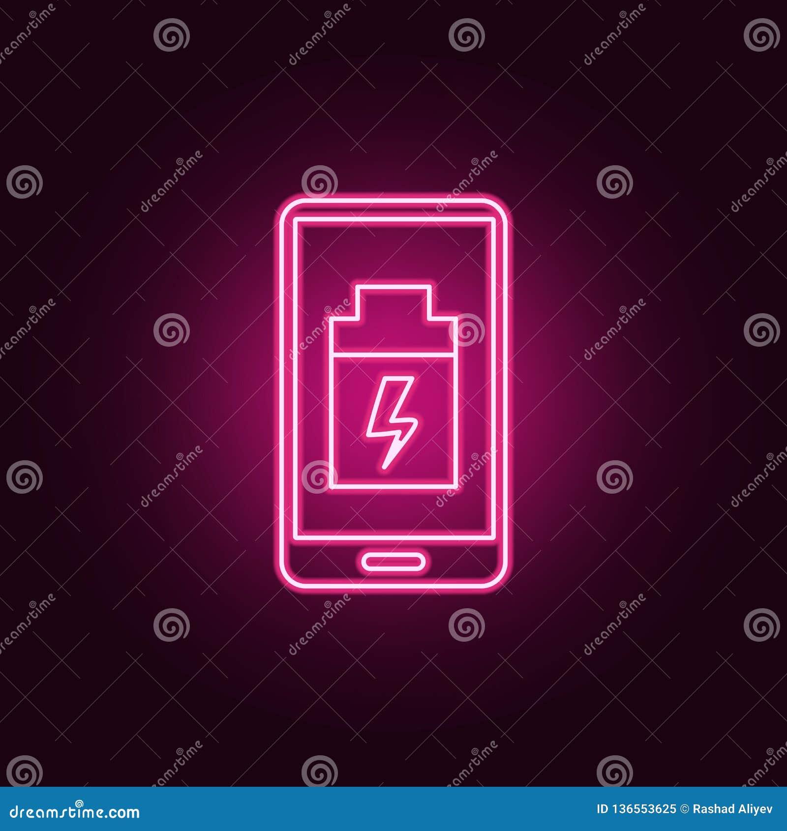 Smartphoneikone der schwachen Batterie Elemente von künstlichem in den Neonartikonen Einfache Ikone für Website, Webdesign, mobil