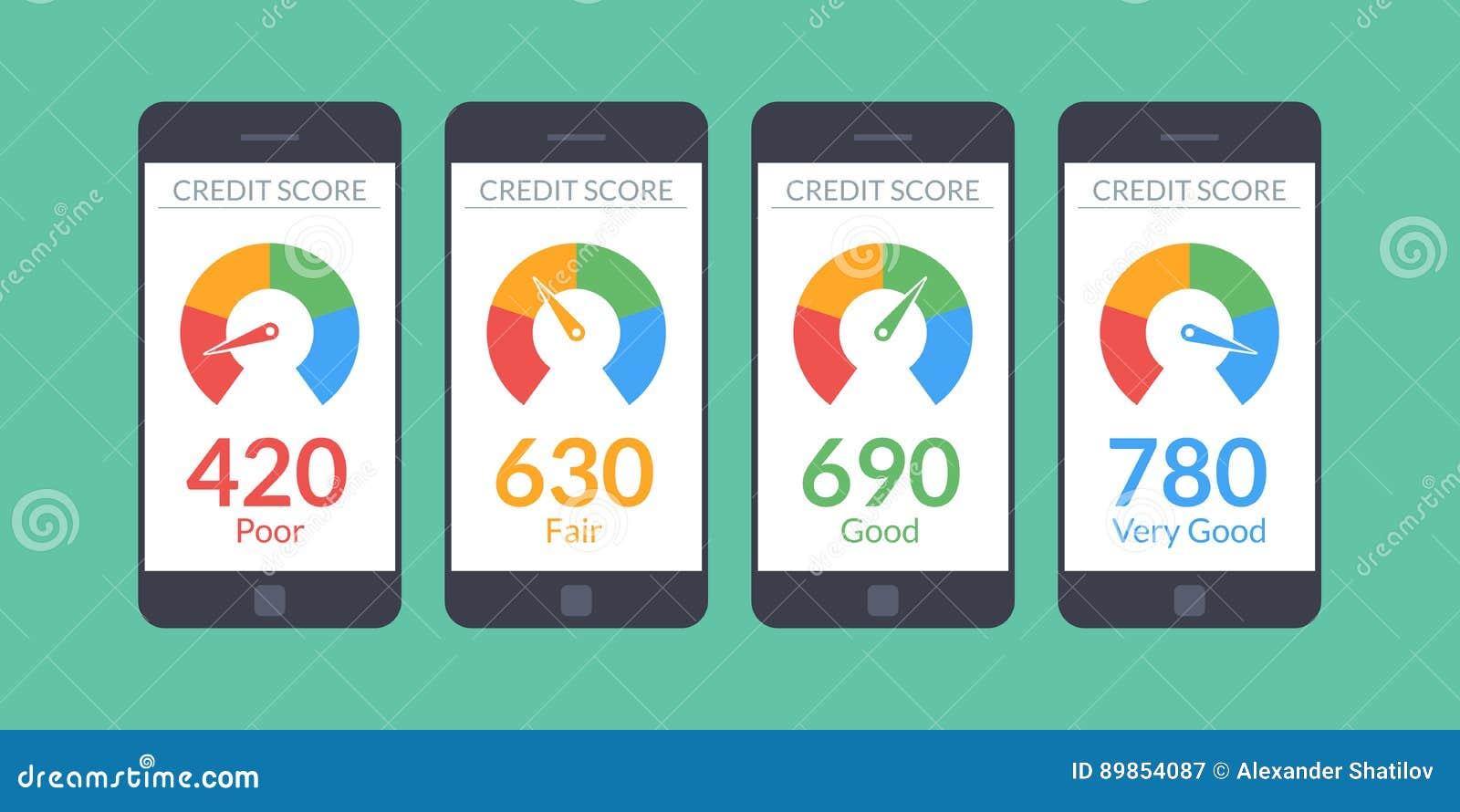 Smartphones de la colección con la cuenta de crédito app en la pantalla en estilo plano Información financiera sobre el cliente V