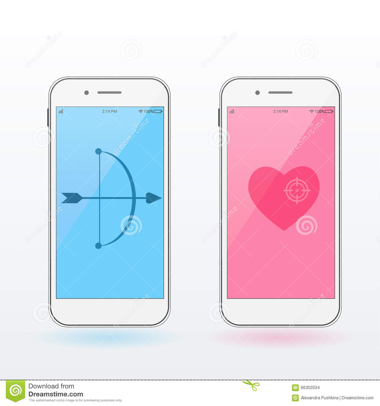Smartphones With Heart Bow And Arrow Valentine S Day Concept
