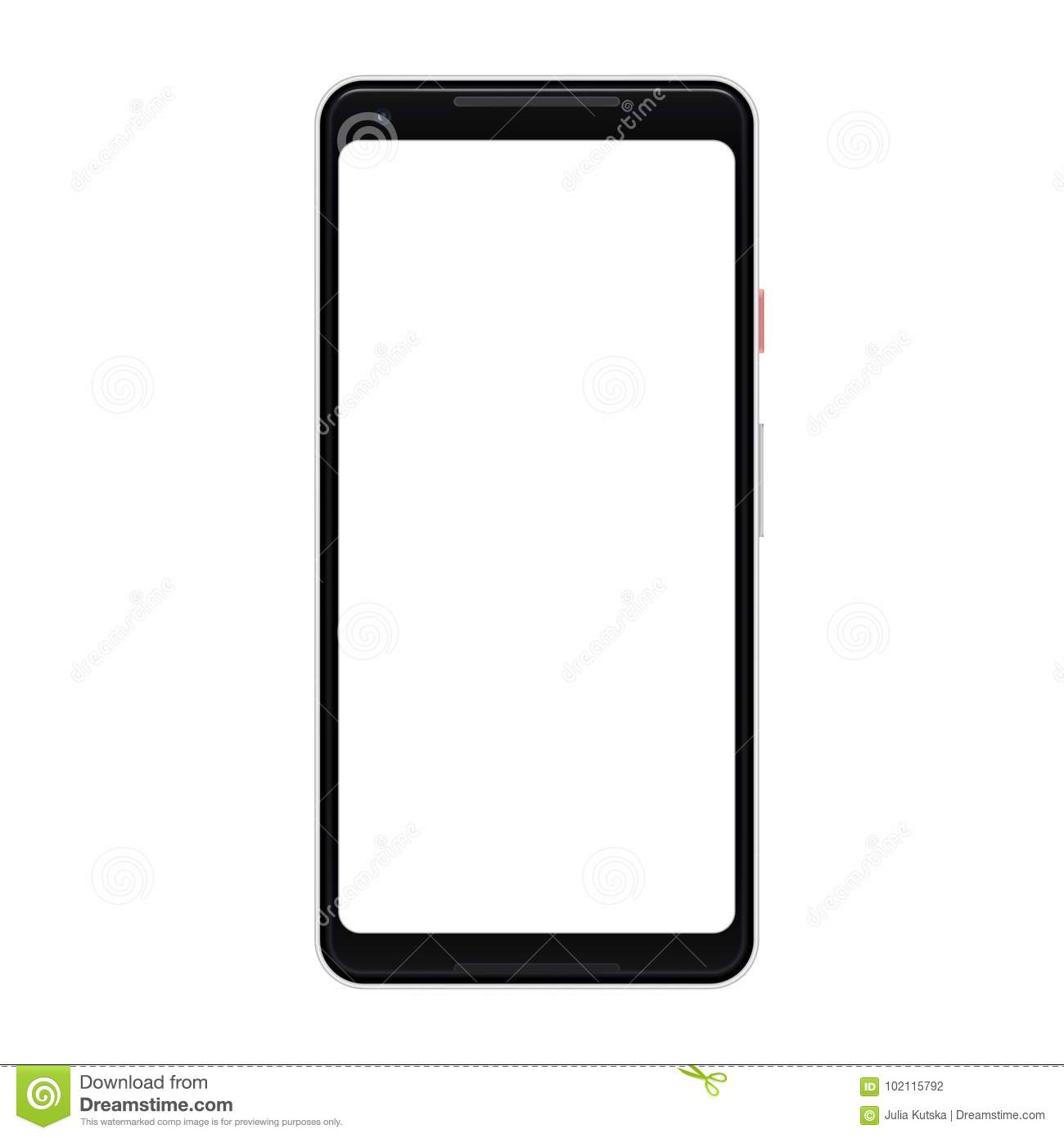 Vector Modern Smartphone Isolated  Mobile Phone With Blank Screen
