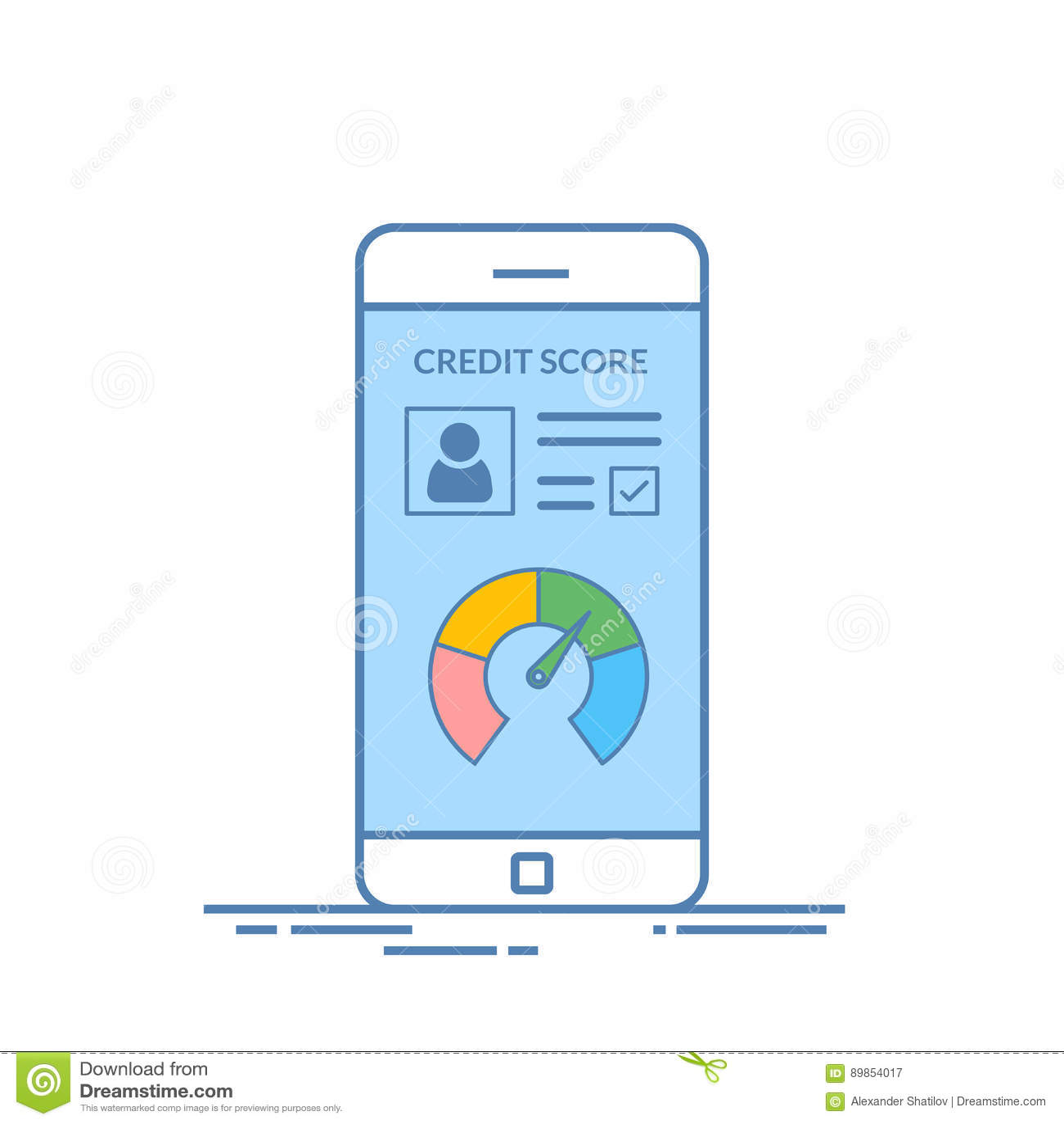 Smartphones med krediteringsställningen app på skärmen i linjen stil Finansiell information om klienten vektor