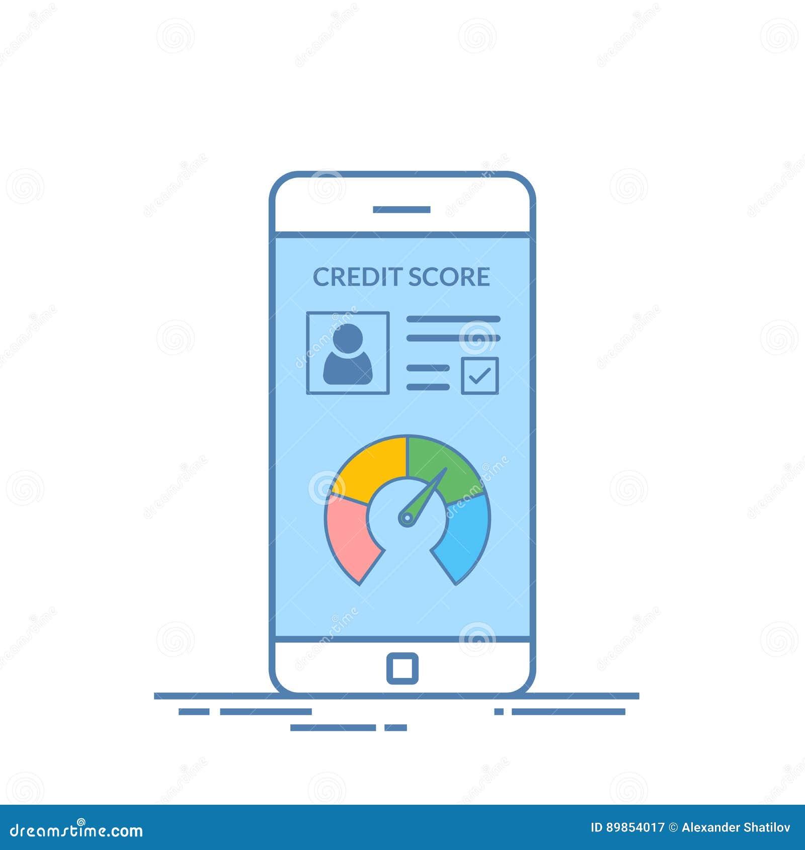 Smartphones mit Kreditscore-APP auf dem Schirm in der Linie Art Finanzinformationen über den Kunden Vektor