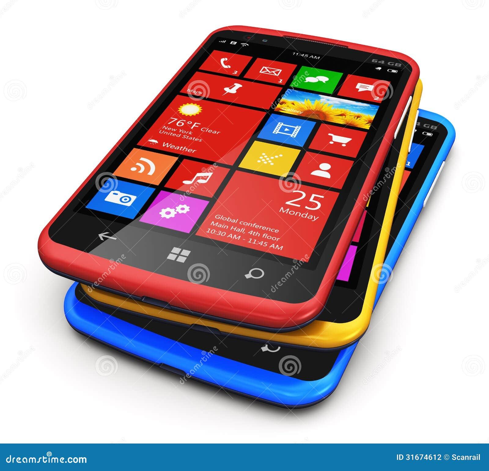 tecnología de la telecomunicación el grupo de smartphones modernos