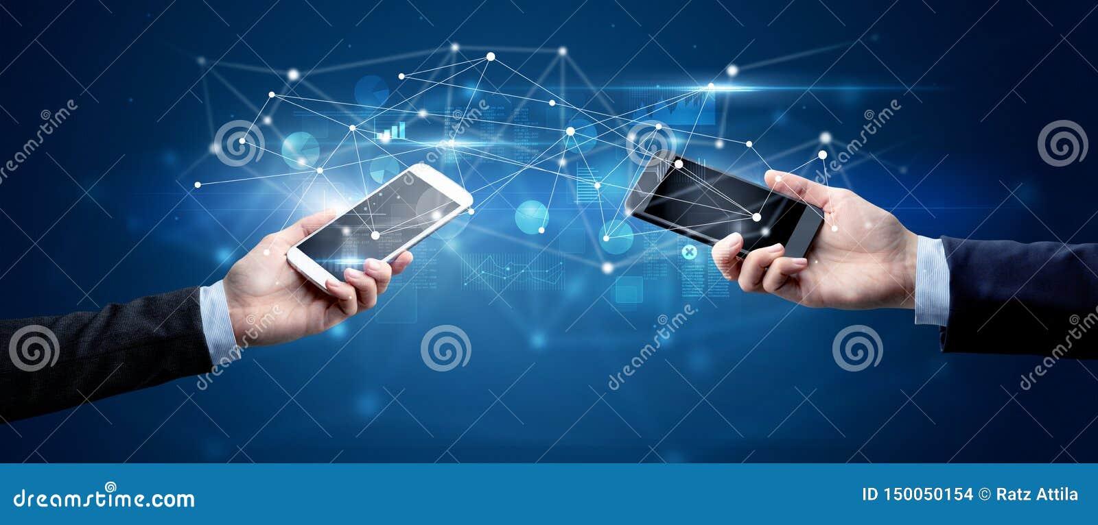 Smartphones sharing business data