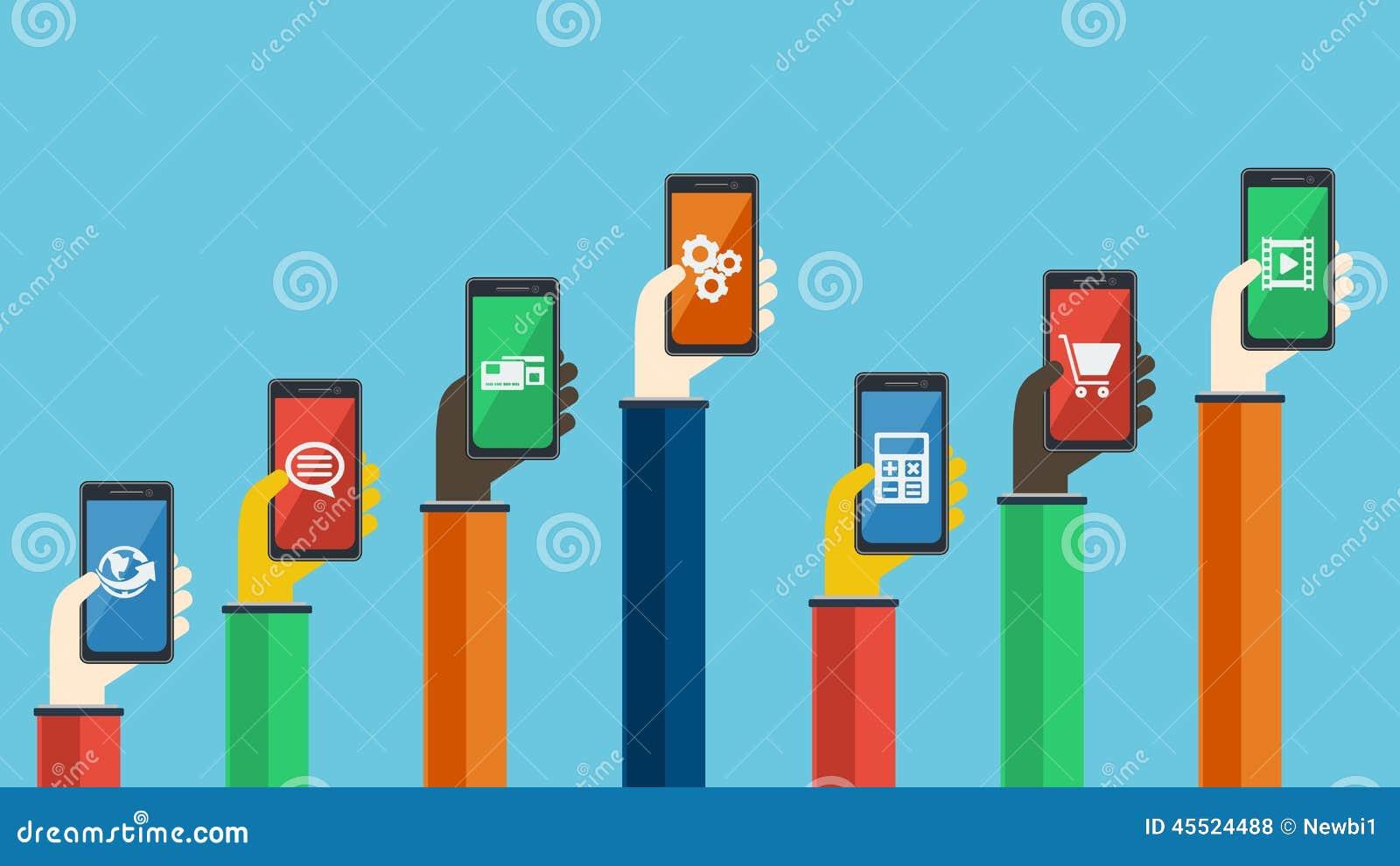 Smartphones w rękach również zwrócić corel ilustracji wektora
