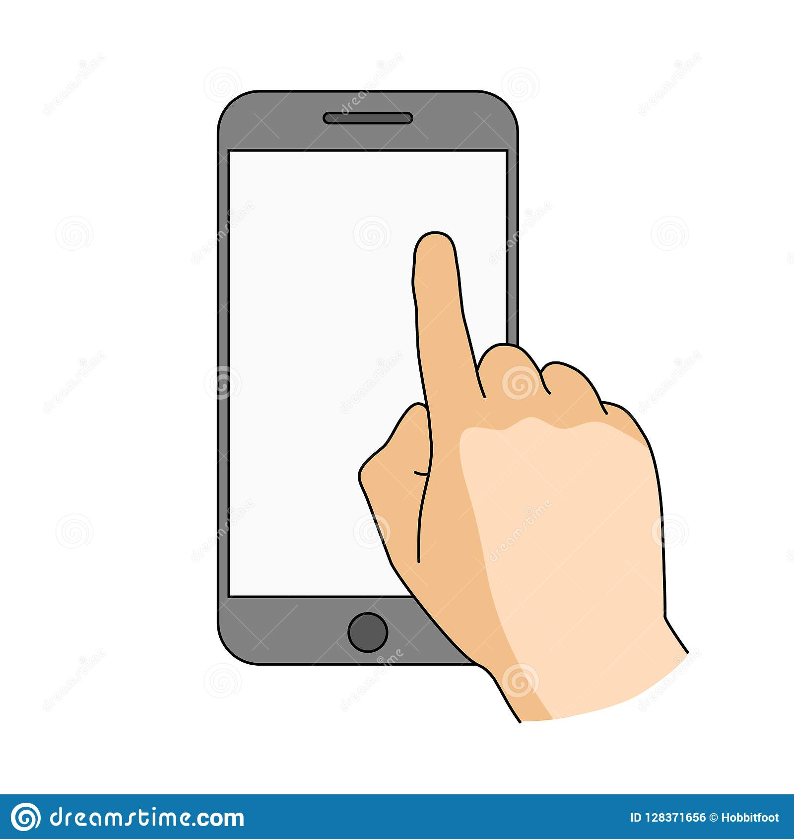 Smartphoneschirm des Fingernotenfreien raumes Modernes Konzept für Netzfahnen, Website, infographics Bewegliches APP-Modell Kreat