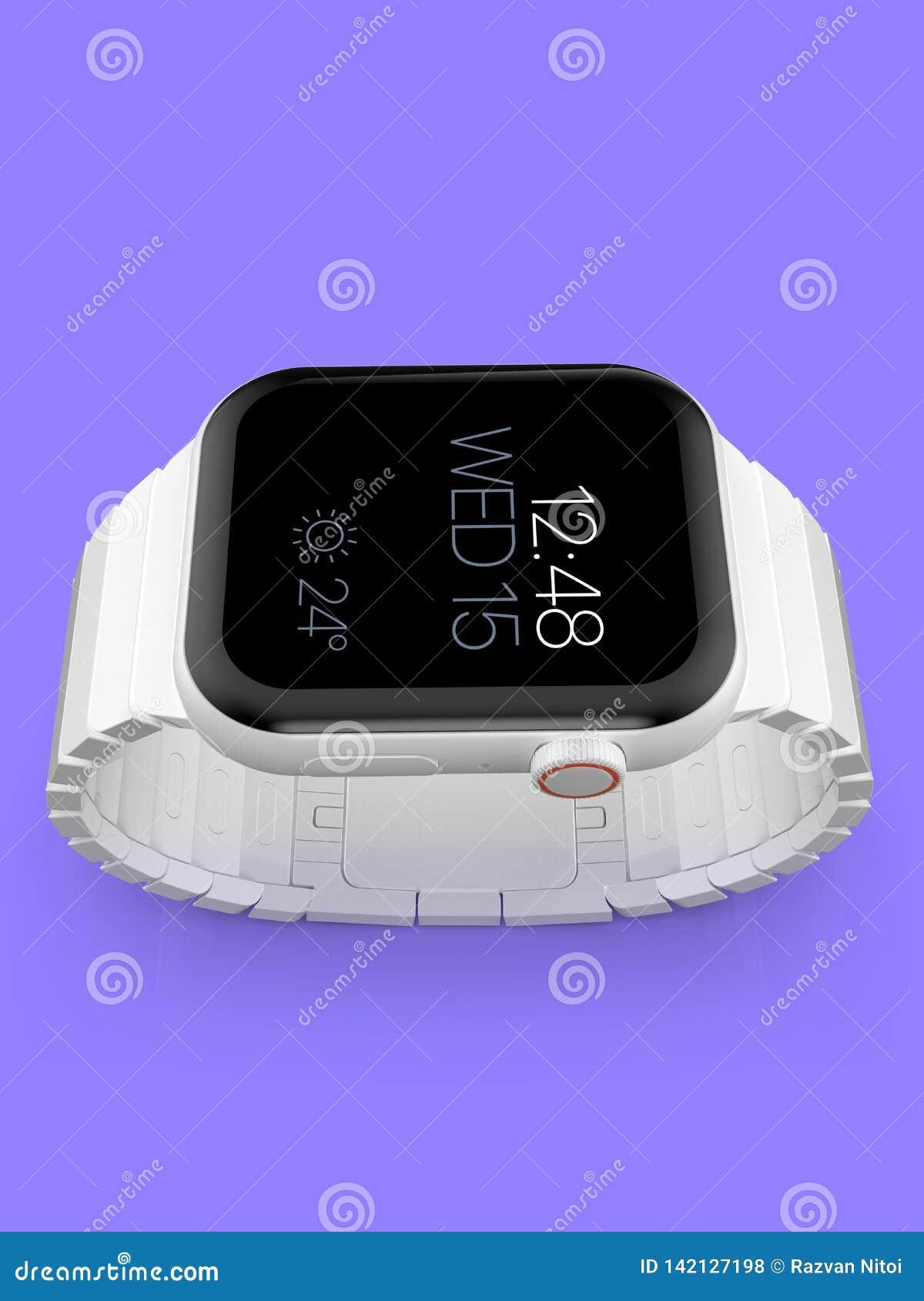 Smartwatch fictif en céramique blanc de rumeur de la montre 4 d Apple, maquette