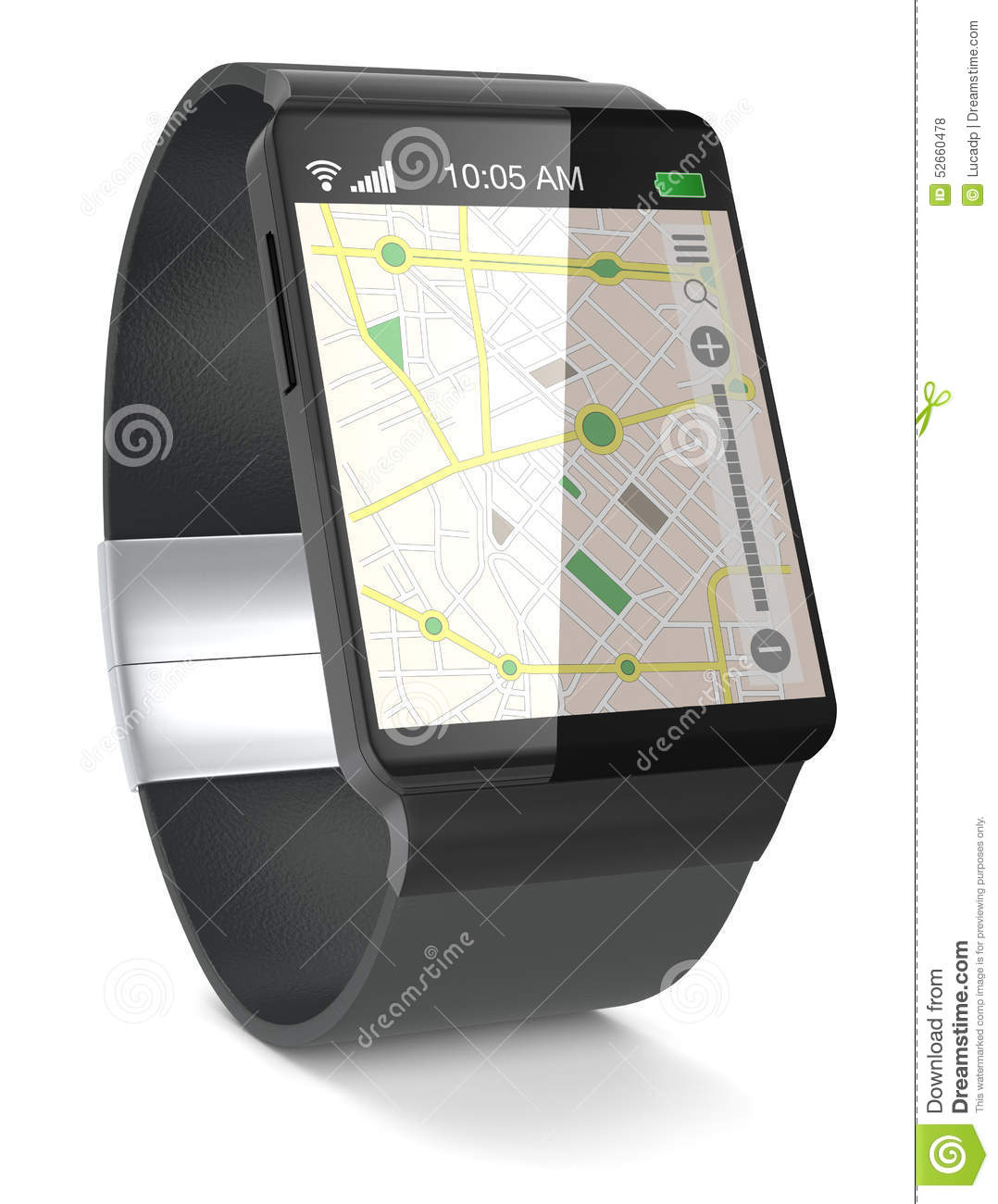 Smartwatch And Gps Stock Illustration Illustration Of