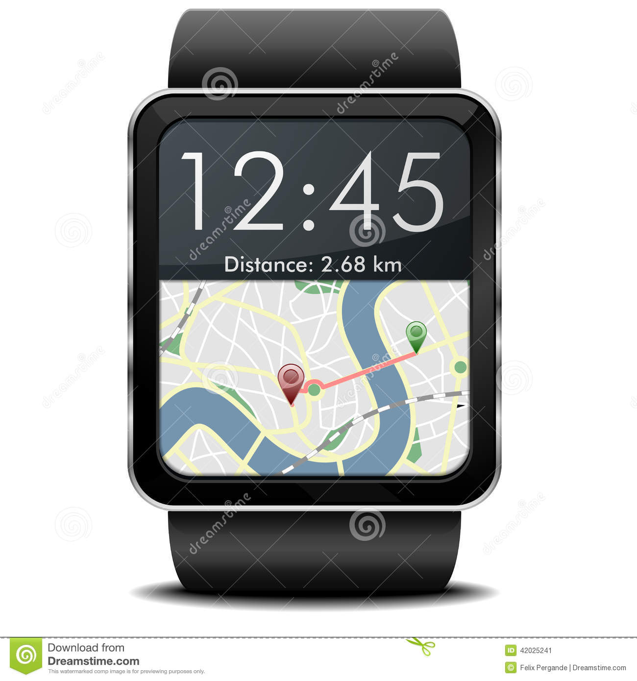 Smartwatch Navigation stock illustration. Image of ...