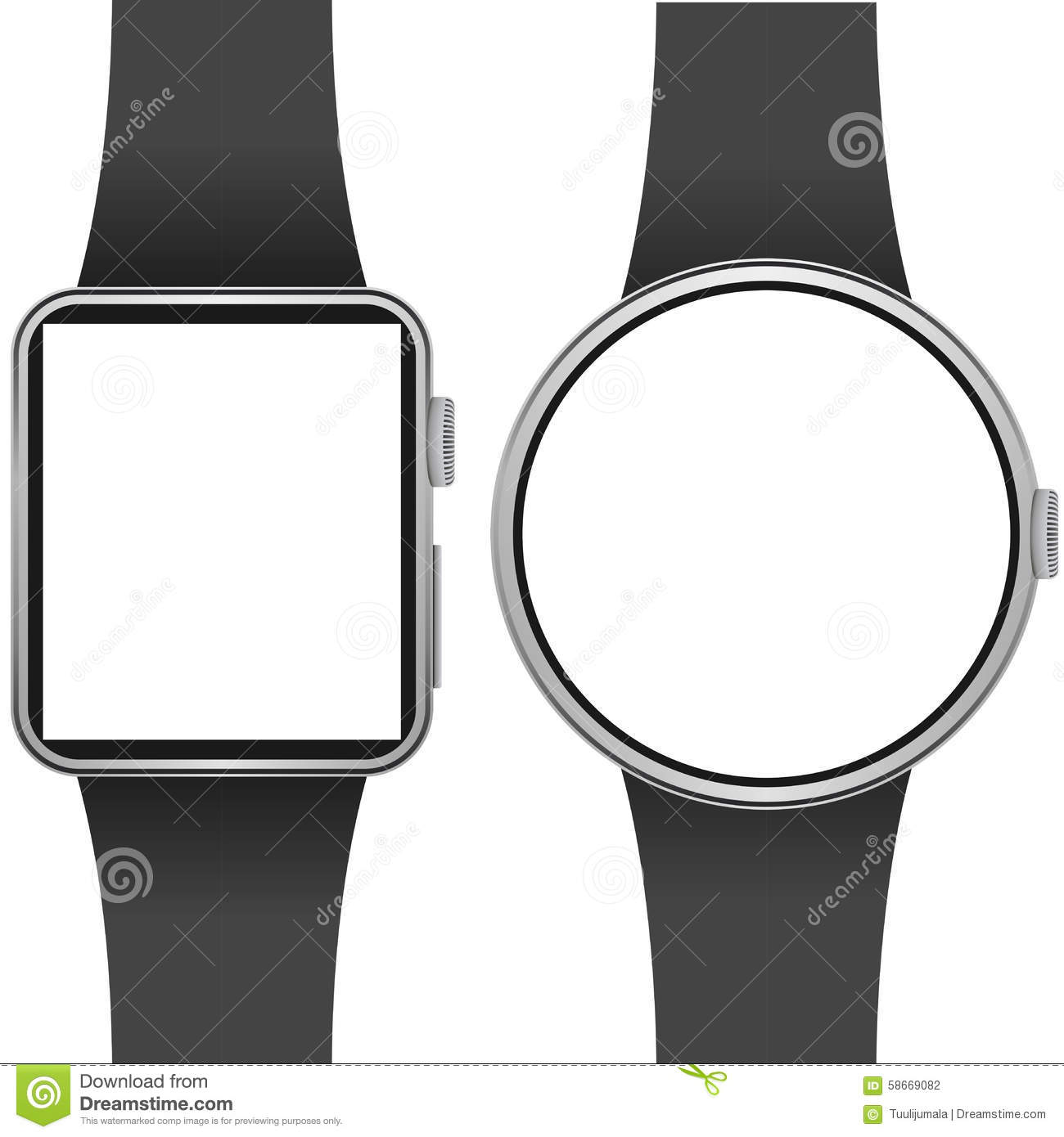 Smartwatch template with blank screen on white background.