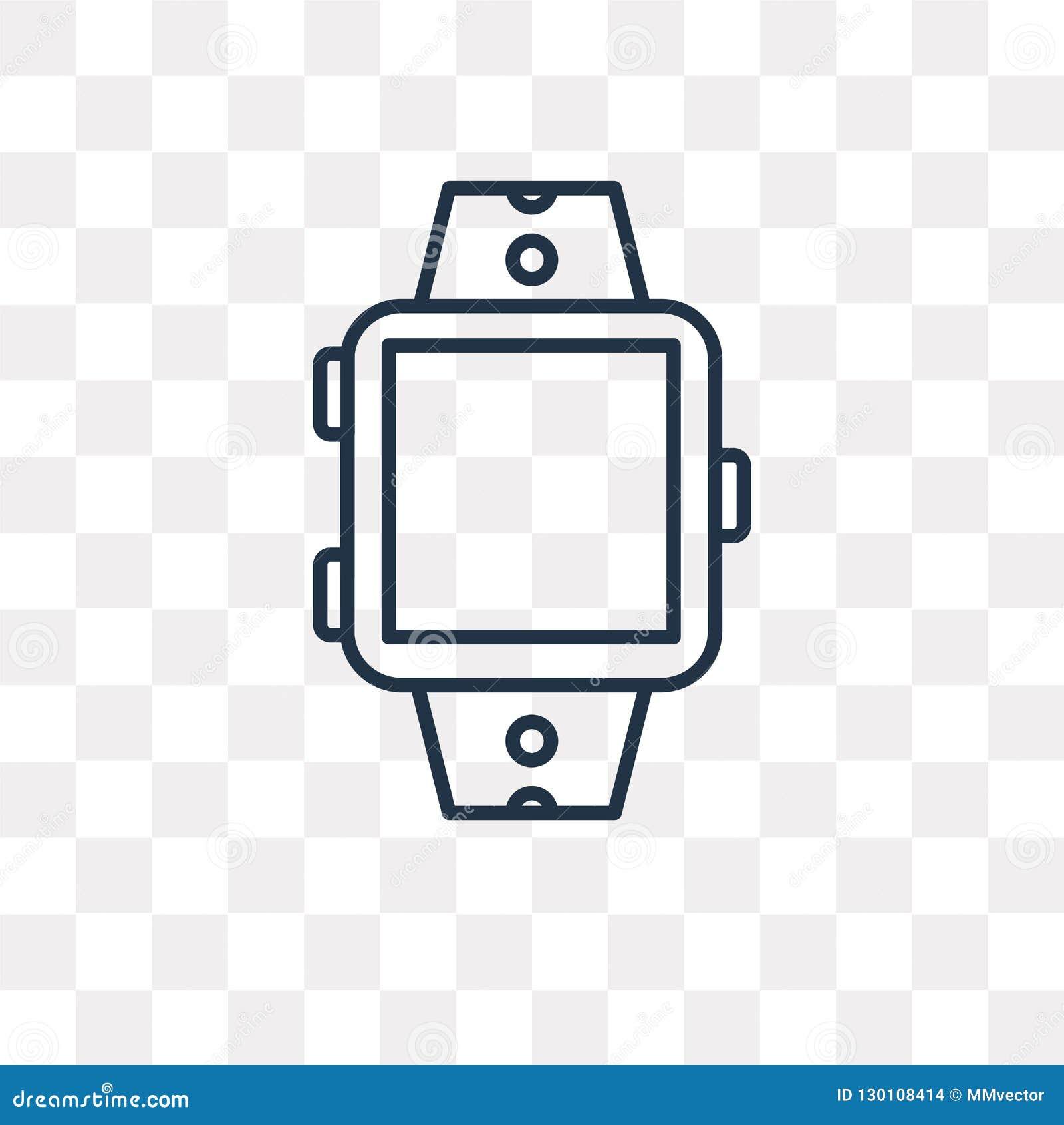 Smartwatch vectordiepictogram op transparante achtergrond, linea wordt geïsoleerd