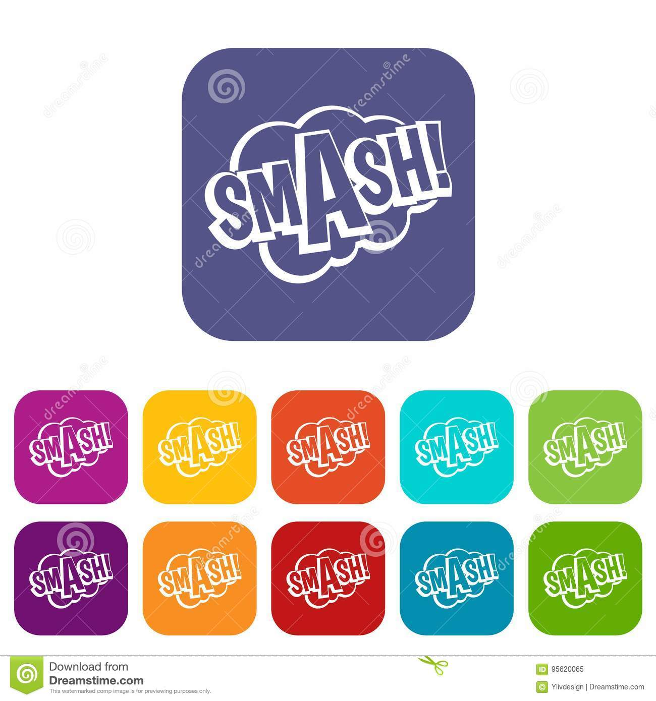 SMASH, Comic Book Bubble Text Icons Set Flat Stock Vector
