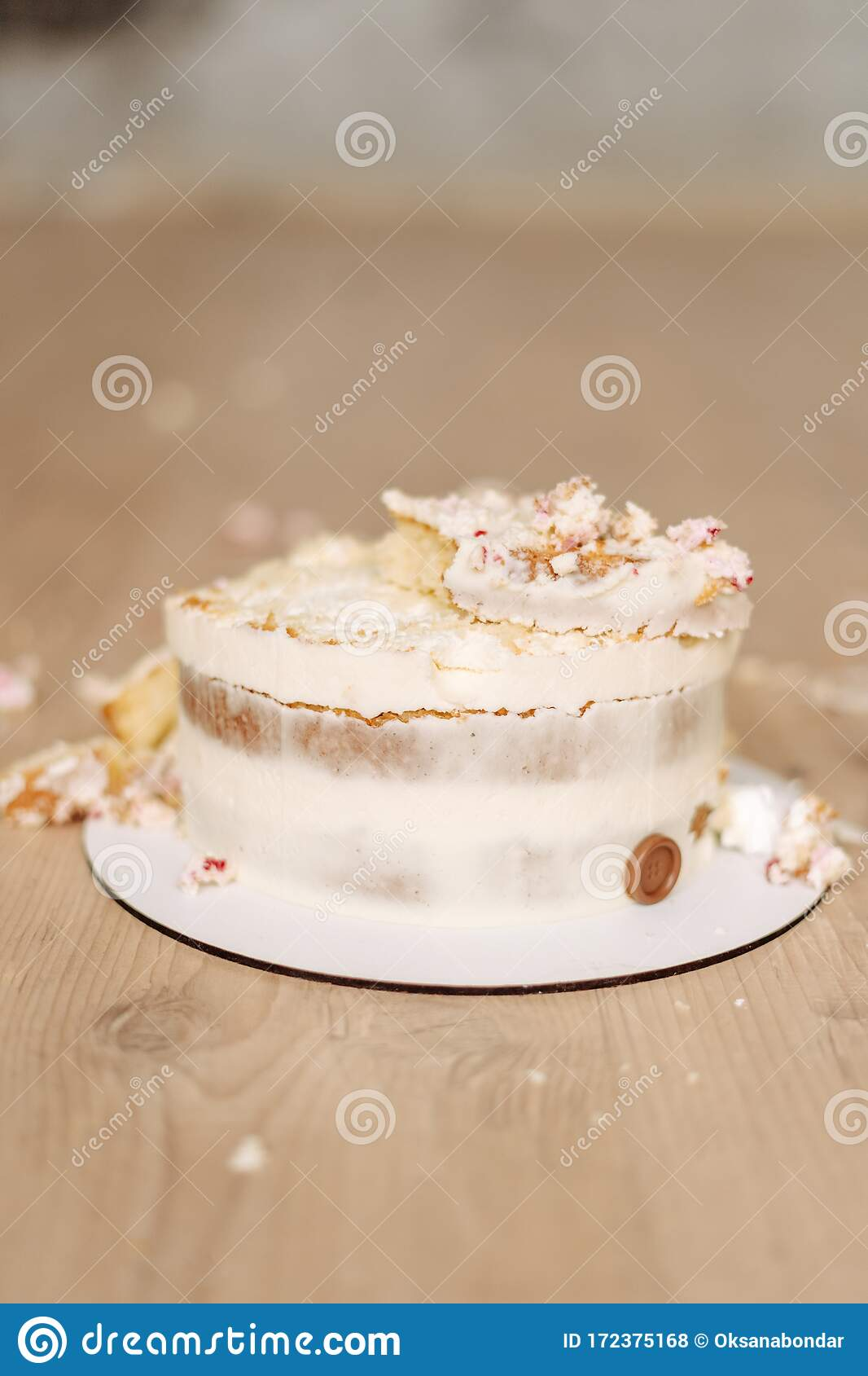 Smashed Cake On Wooden Floor For 1st Birthday Stock Photo Image
