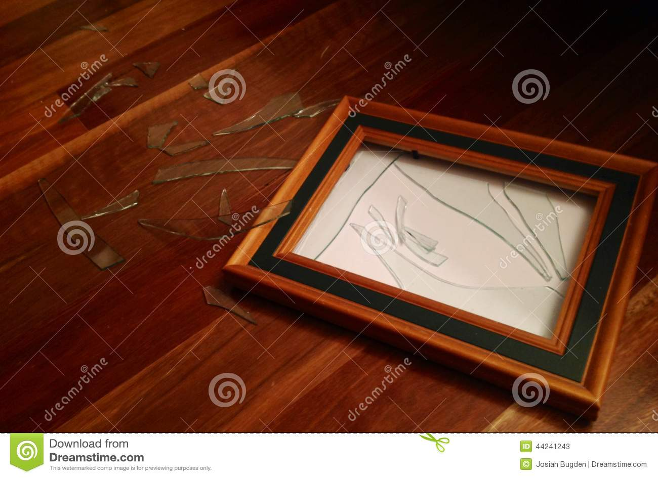 Smashed Glass Wooden Picture Frame Stock Image