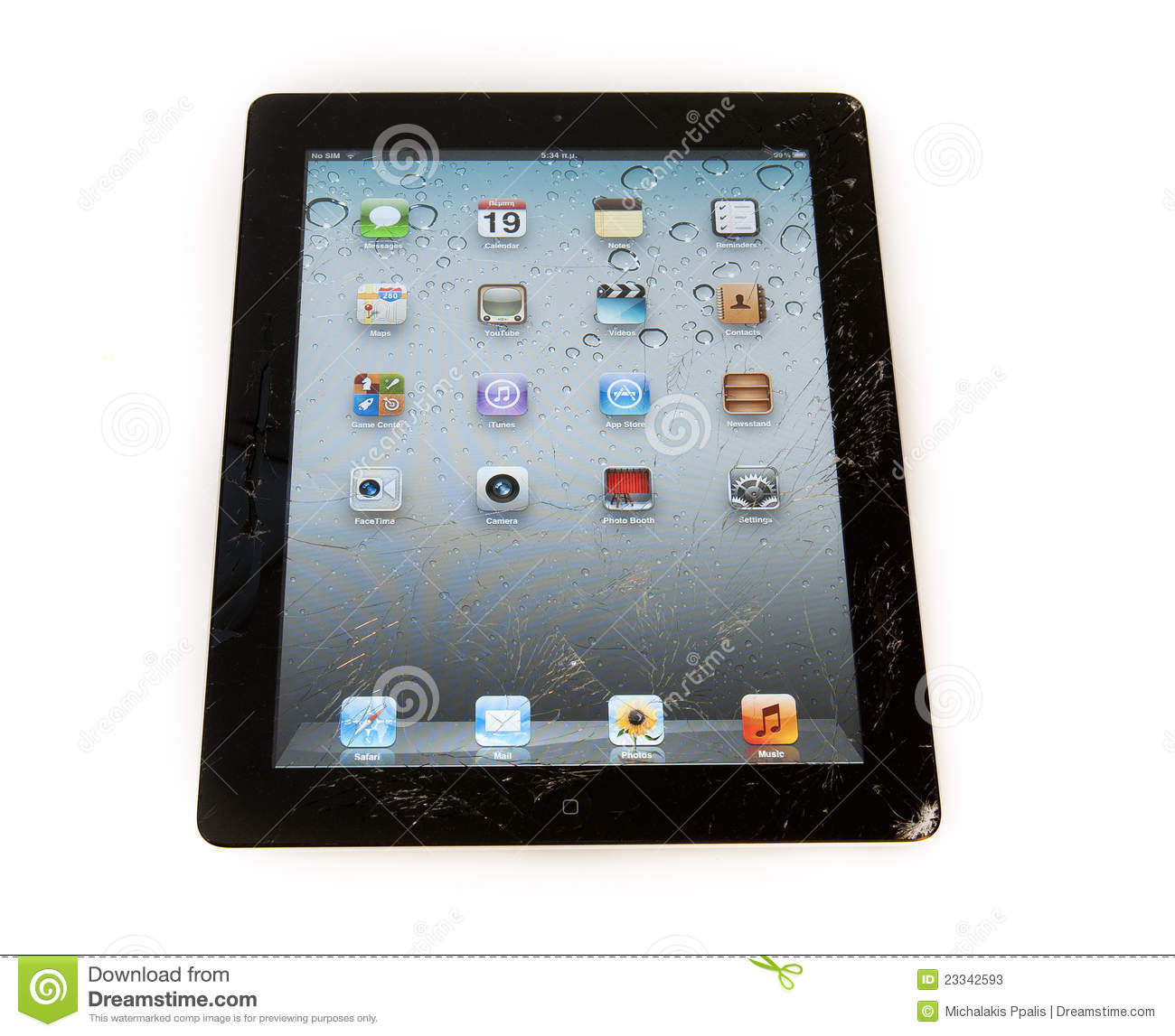 Smashed Ipad Digital Tablet Editorial Stock Photo