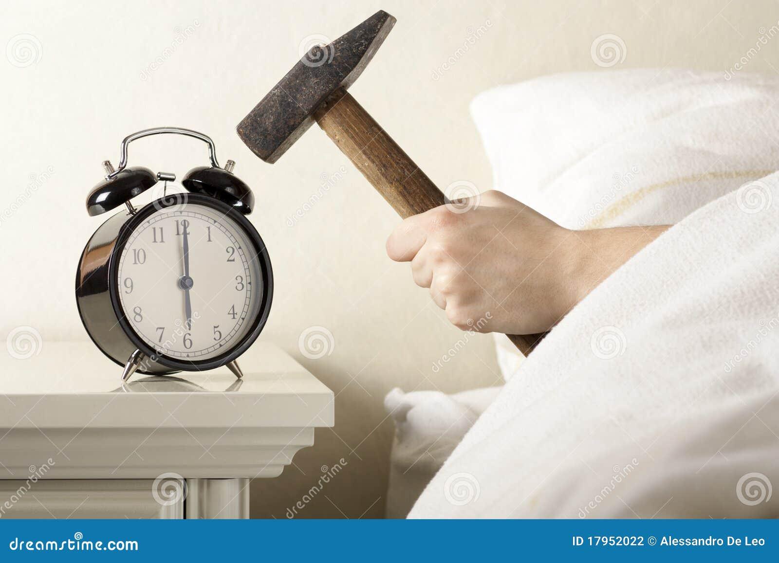 Smashing Alarm Clock With Hammer Stock Photo Image 17952022