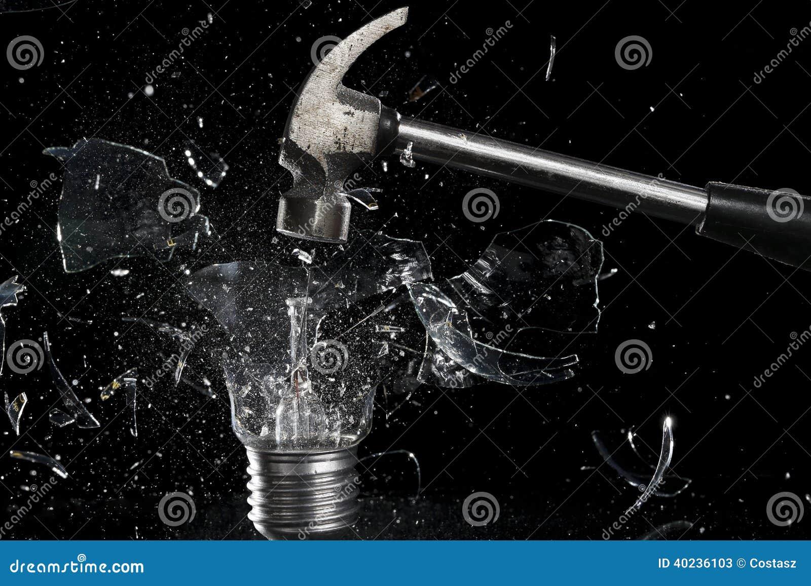 Smashing A Light Bulb Stock Image Image Of Black