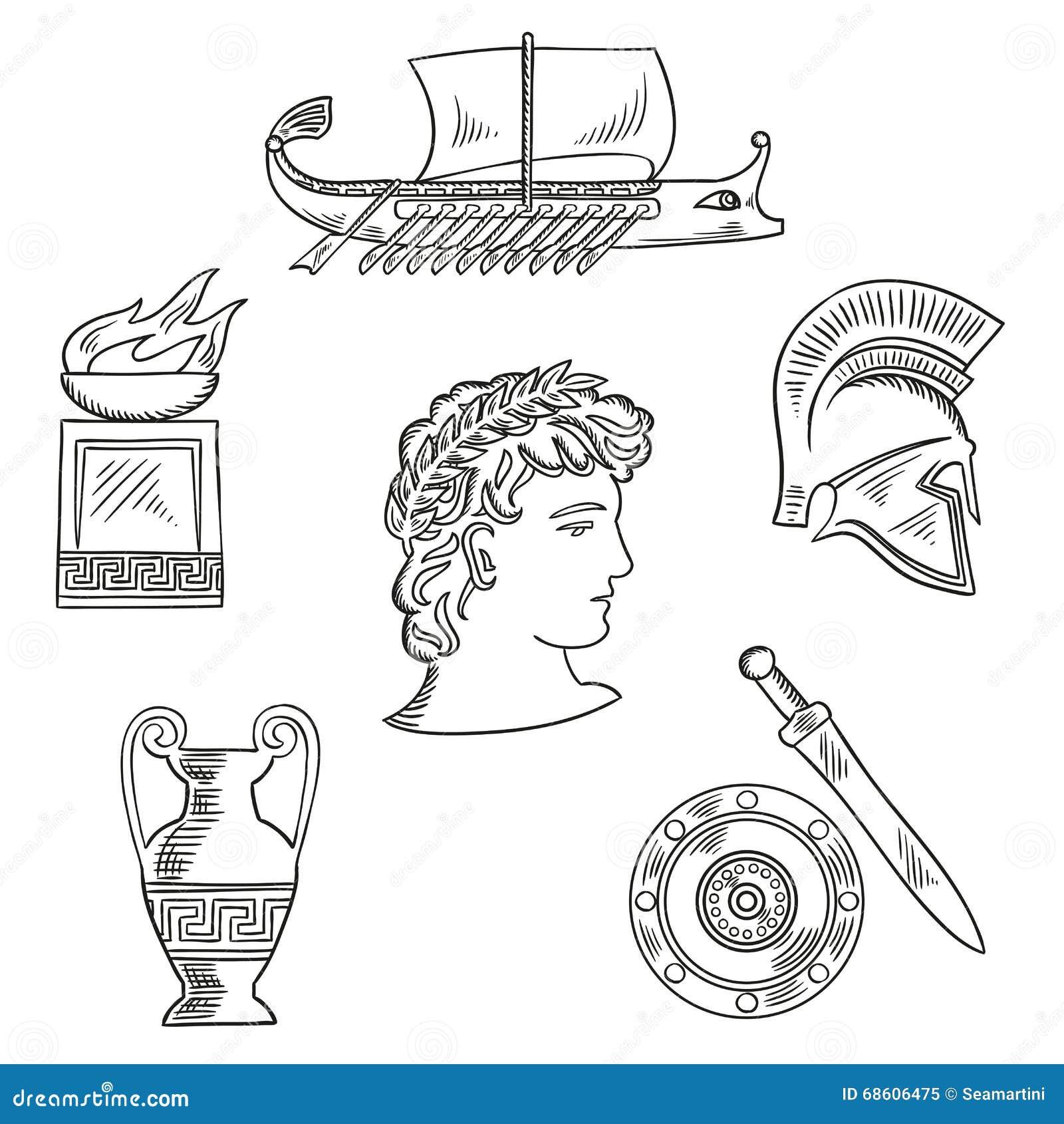 S mbolos de la cultura de grecia antigua ilustraci n del for Cultura de la antigua grecia