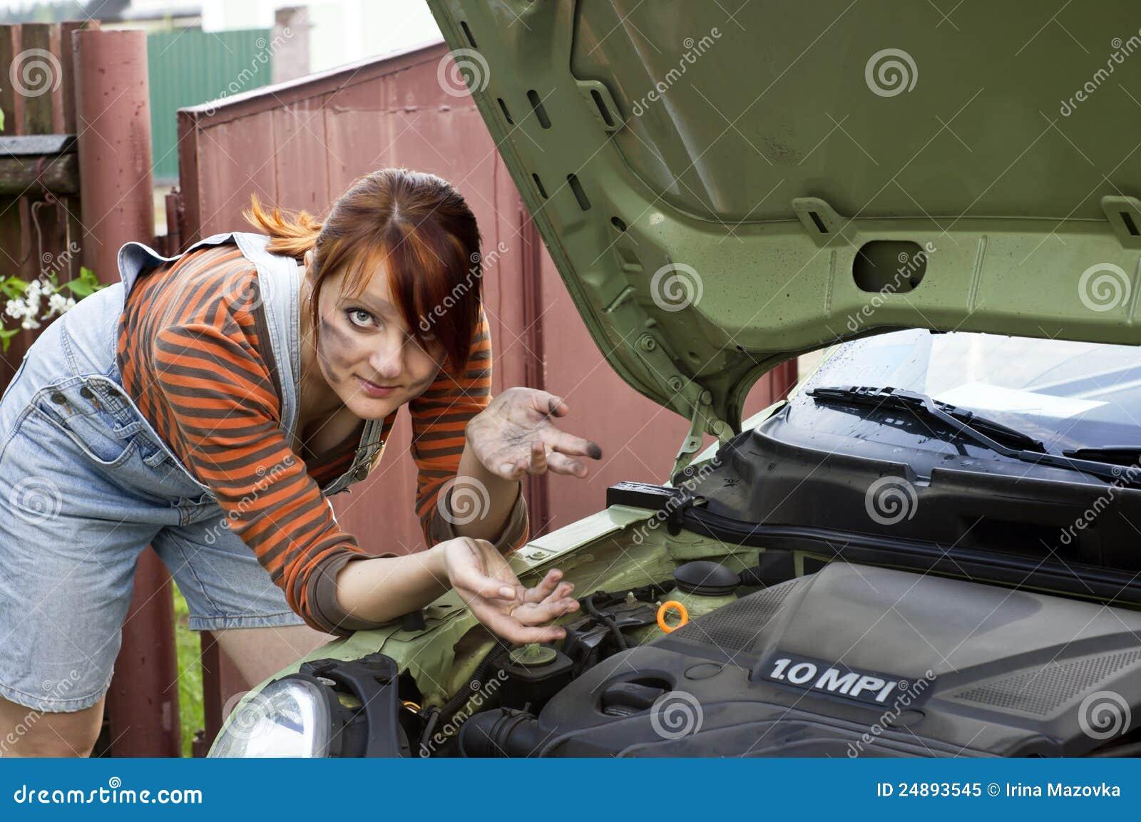 Smeared girl near the car