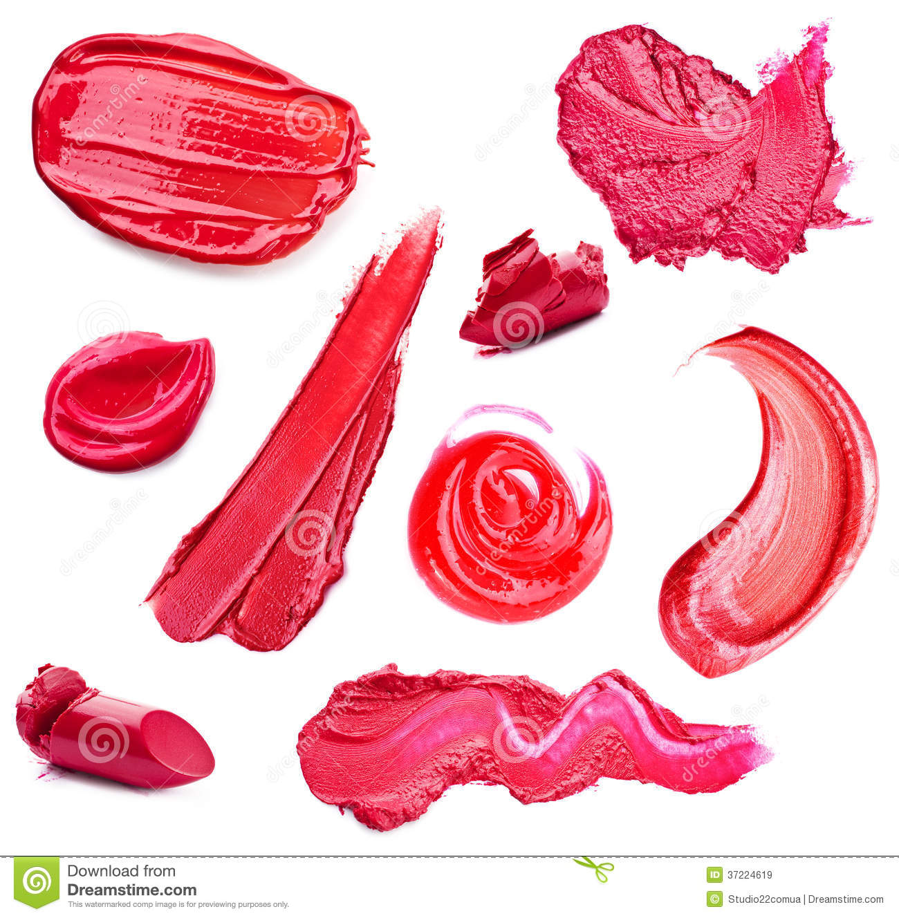 Smears Lipstick And Lip Gloss Variety Of Shapes Royalty Free Stock ...