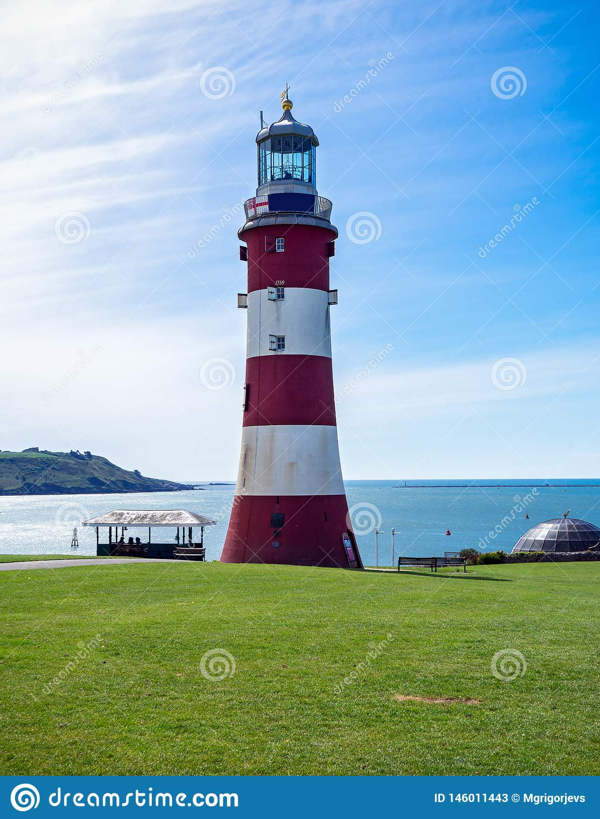 Smeaton`s Tower, Red and white lighthouse in Plymouth, Great Britain, May 3, 2018