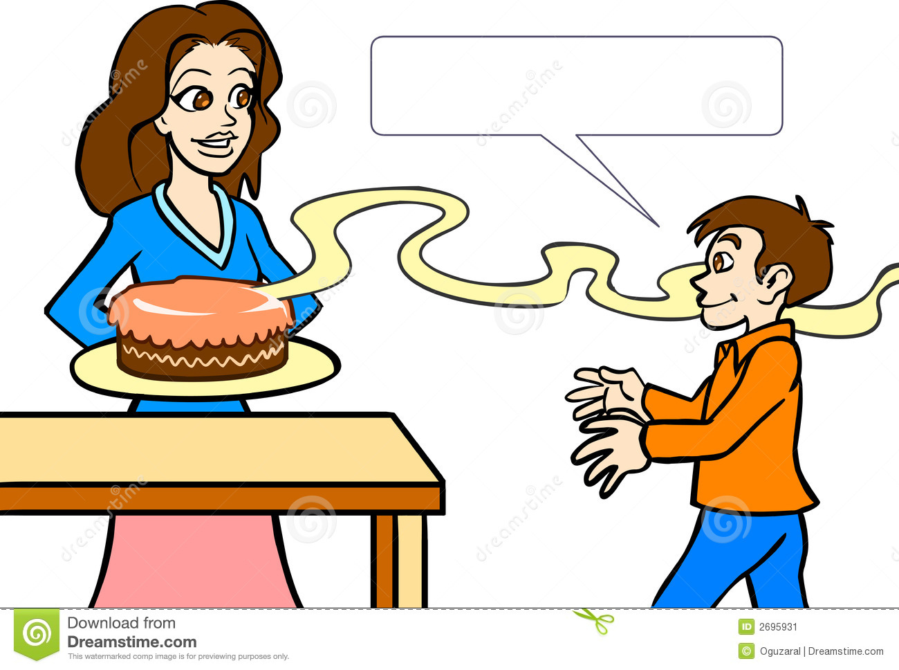 Vector illustration of a mother making cake.