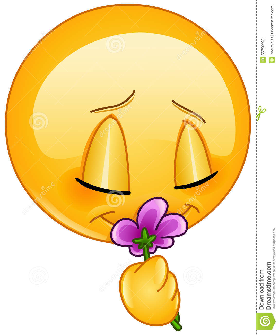 Smelling Flower Emoticon Stock Vector. Image Of Floral