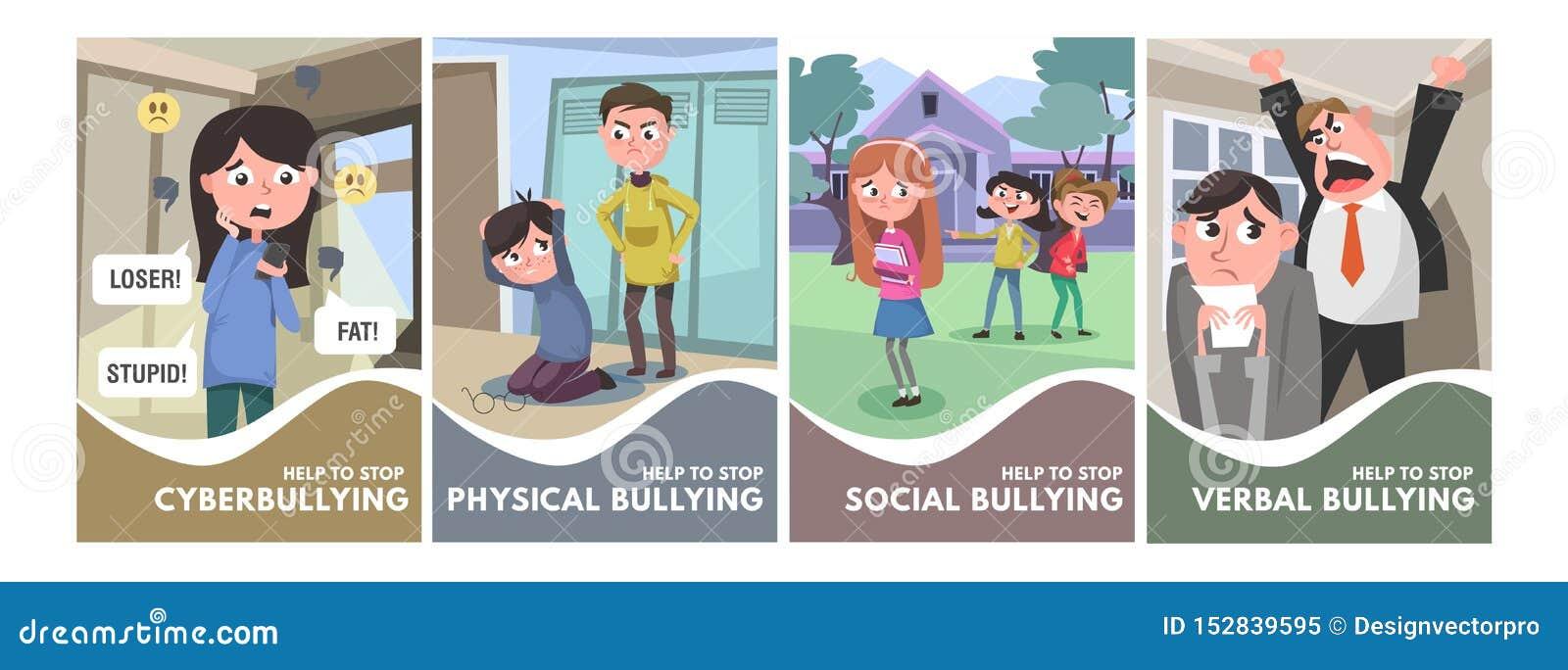 Smetta di opprimere l insieme dei manifesti Tipi d oppressione concetti nello stile del fumetto verbale, sociale, fisico, cyberbu