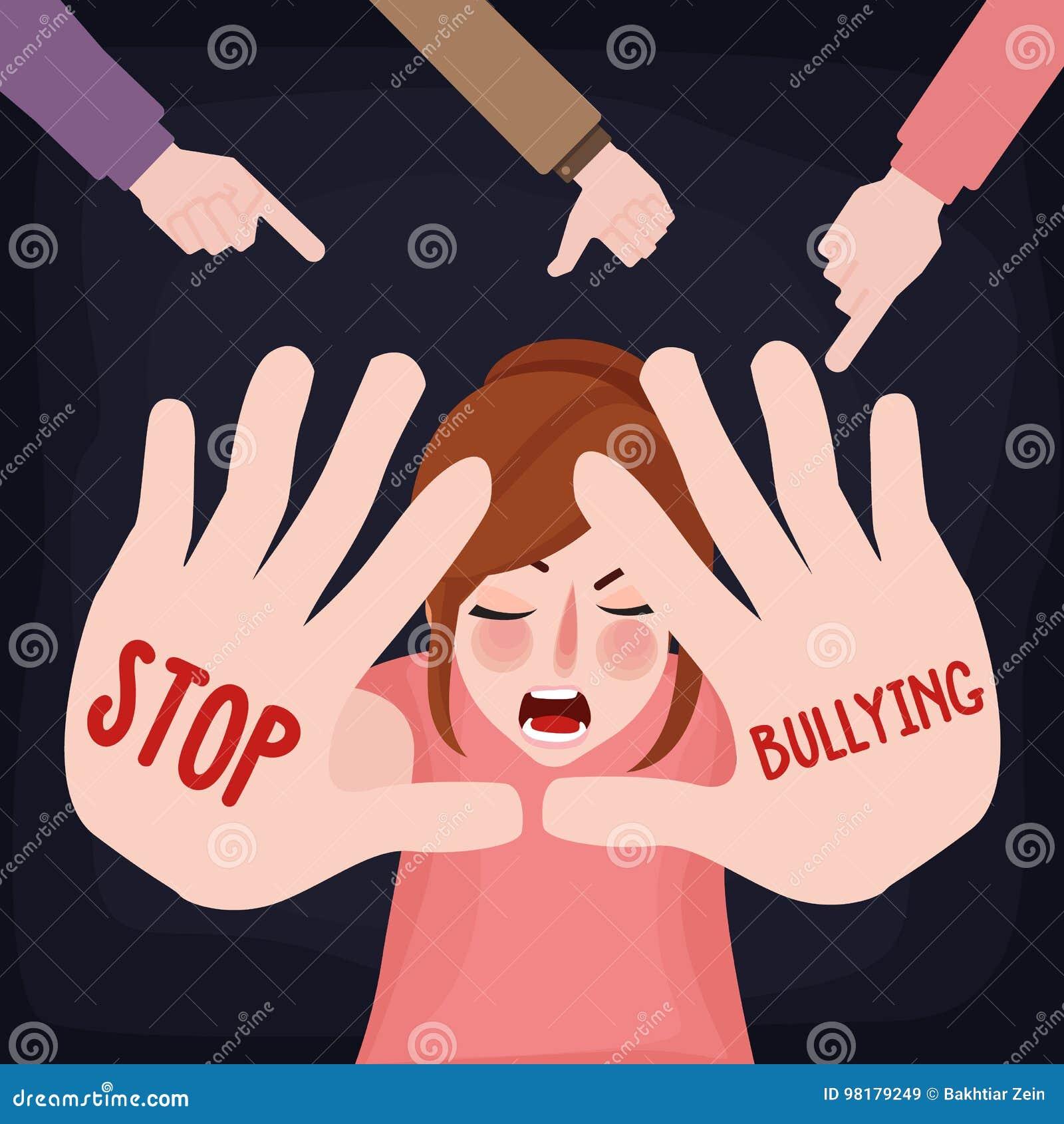 Smetta di opprimere la donna spaventata vittima triste della ragazza di pedofilia con il segno della mano