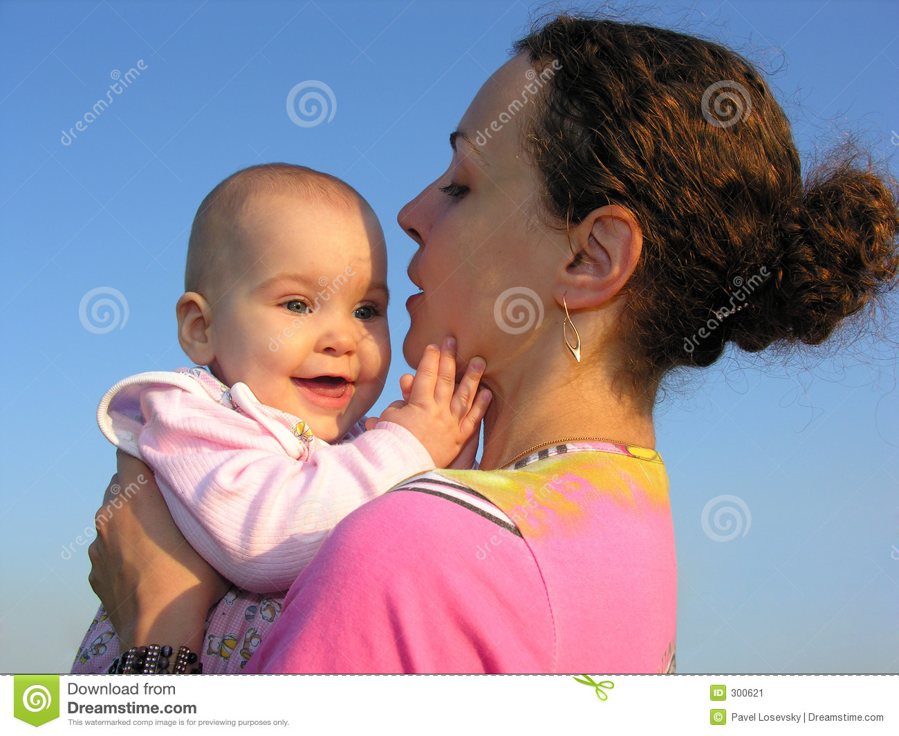 Smile baby on mother s hands
