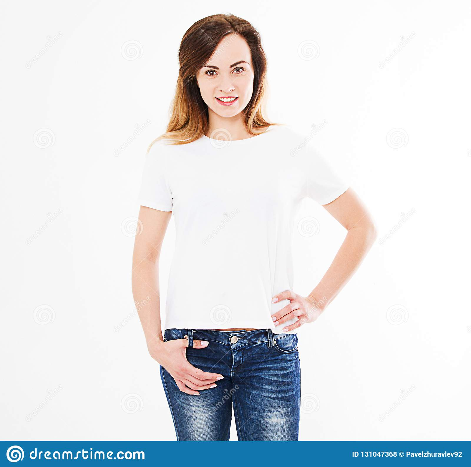 Smile caucasian woman in tshirt isolated on white background, mock up for design
