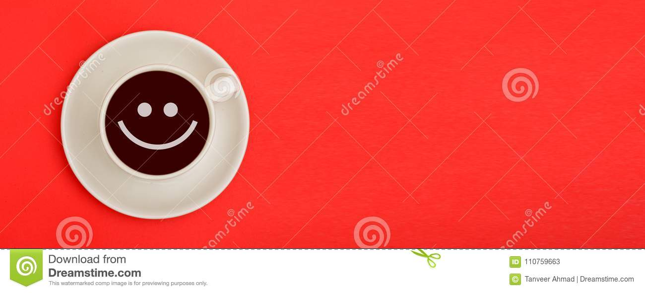 Smile Emoji In Coffee Cup With Banner Template On Red Background