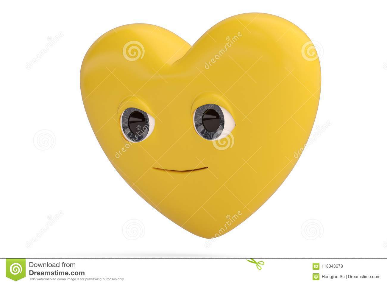 Smile Face Heart Emoticon With Heart Emoji3d Illustration Stock