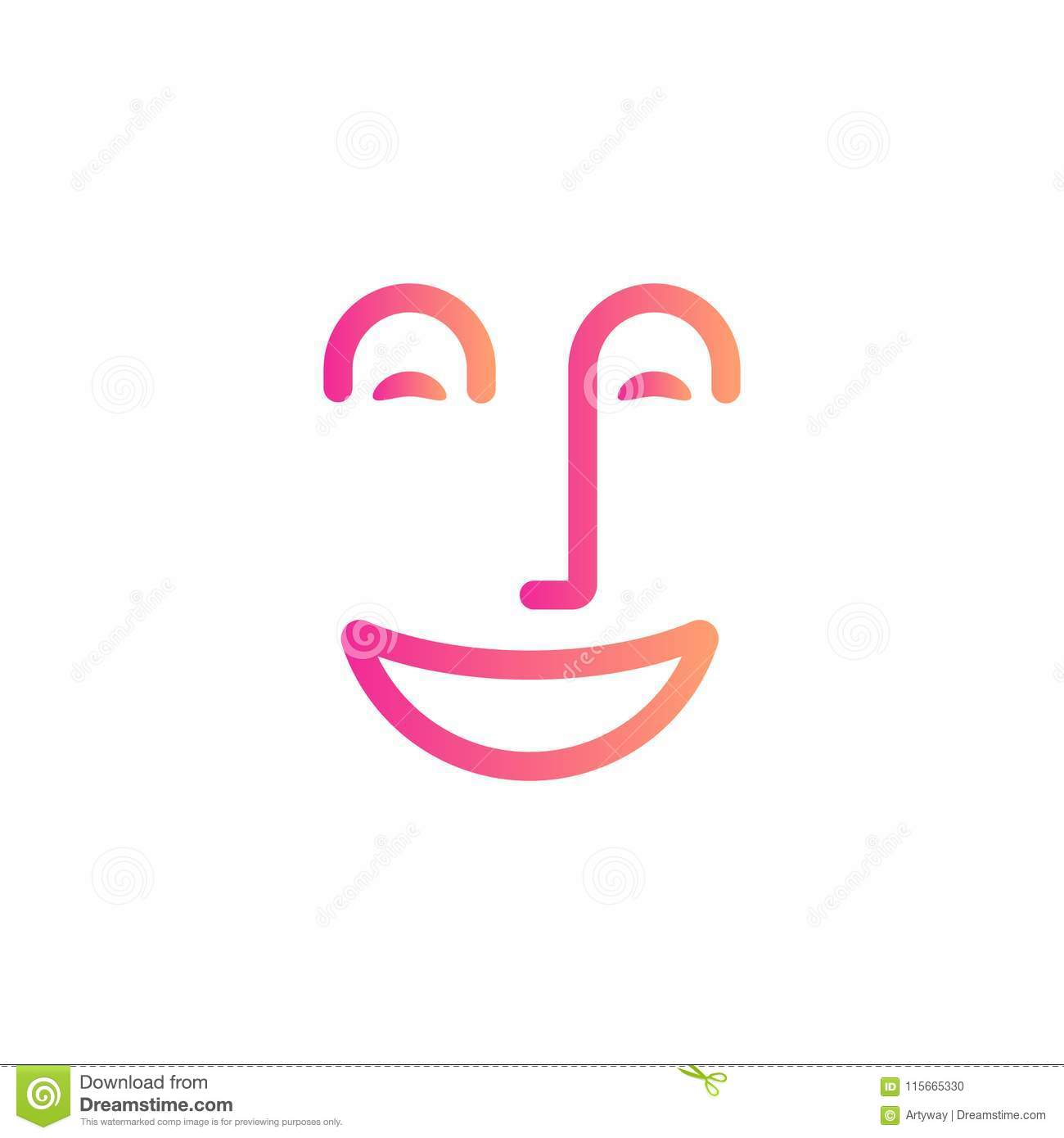 Smile face symbol, happy people abstract line icon, cheerful mood, positive emotion, dentistry linear logo template.