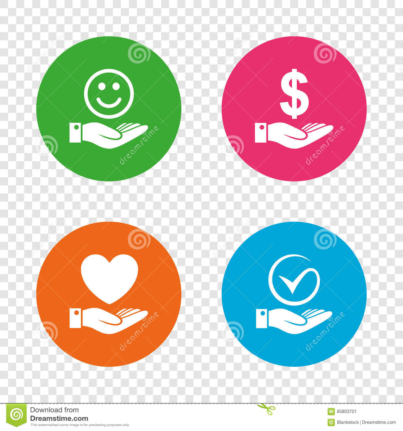 Smile And Hand Icon Heart Tick Symbol Stock Vector Illustration