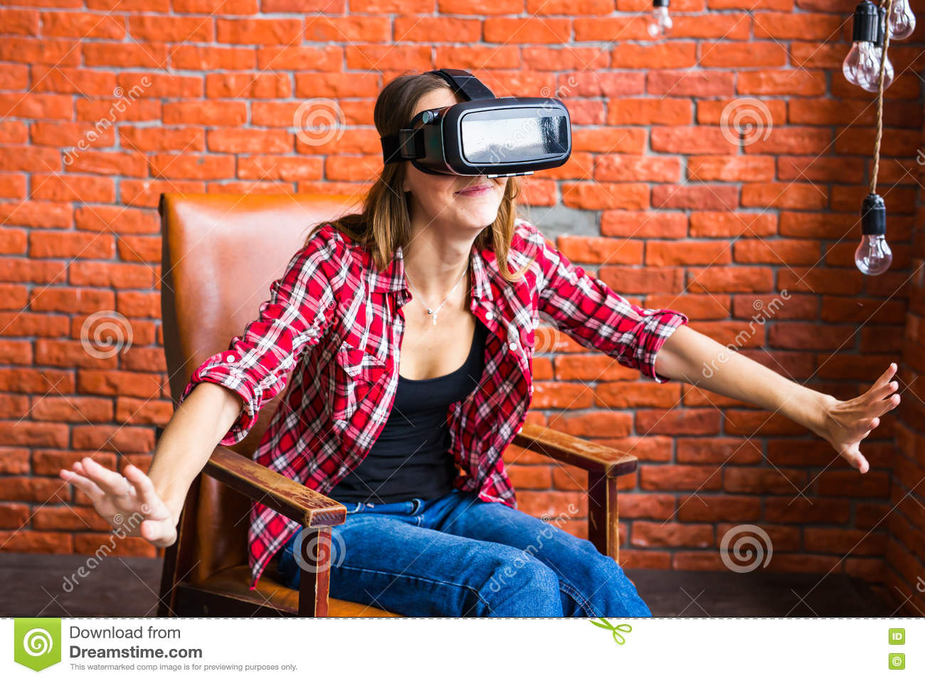 Smile happy woman getting experience using vr headset for Vr for home