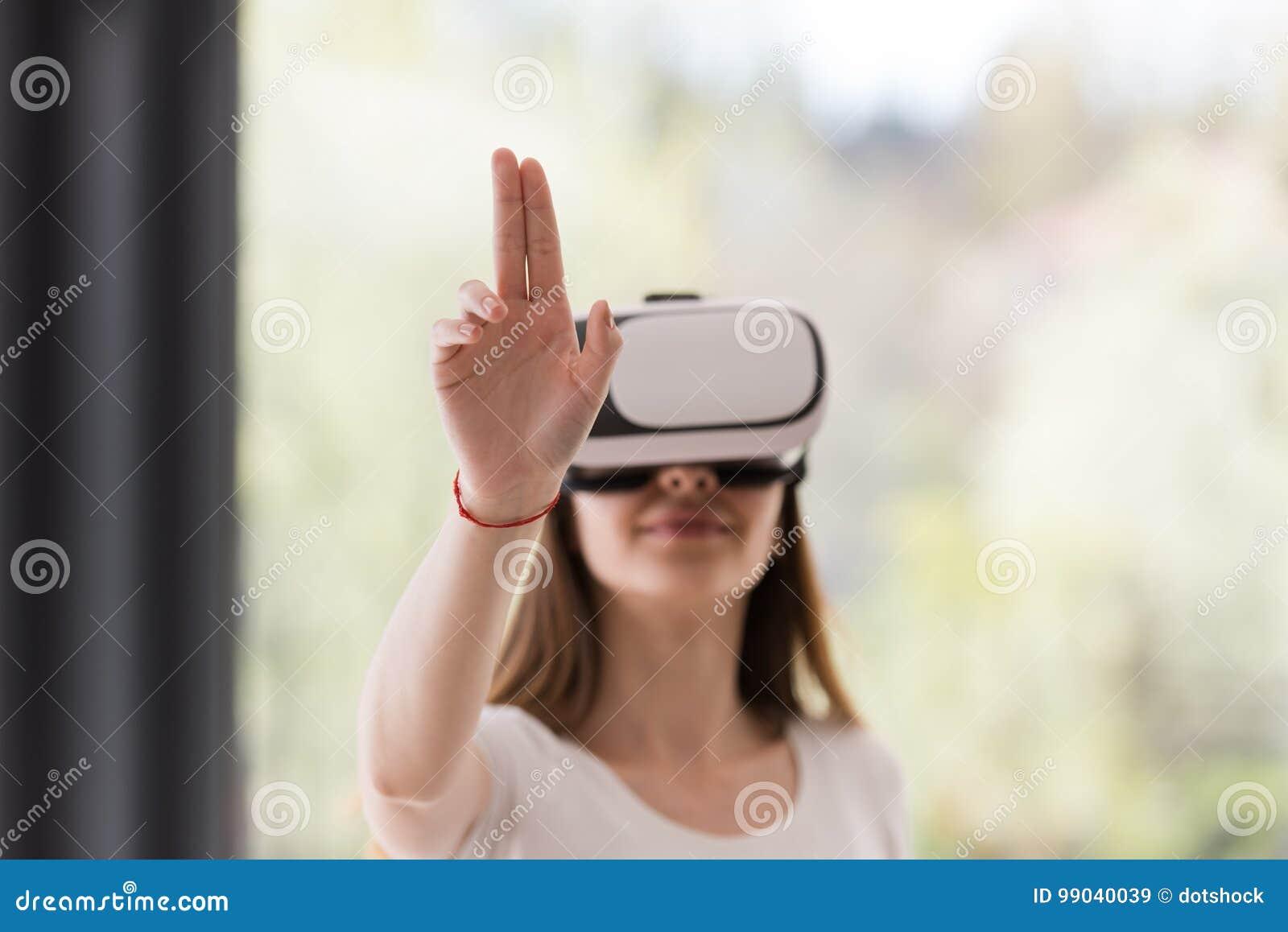 Woman Hold Vr Headset Glasses Violet Background. Digital